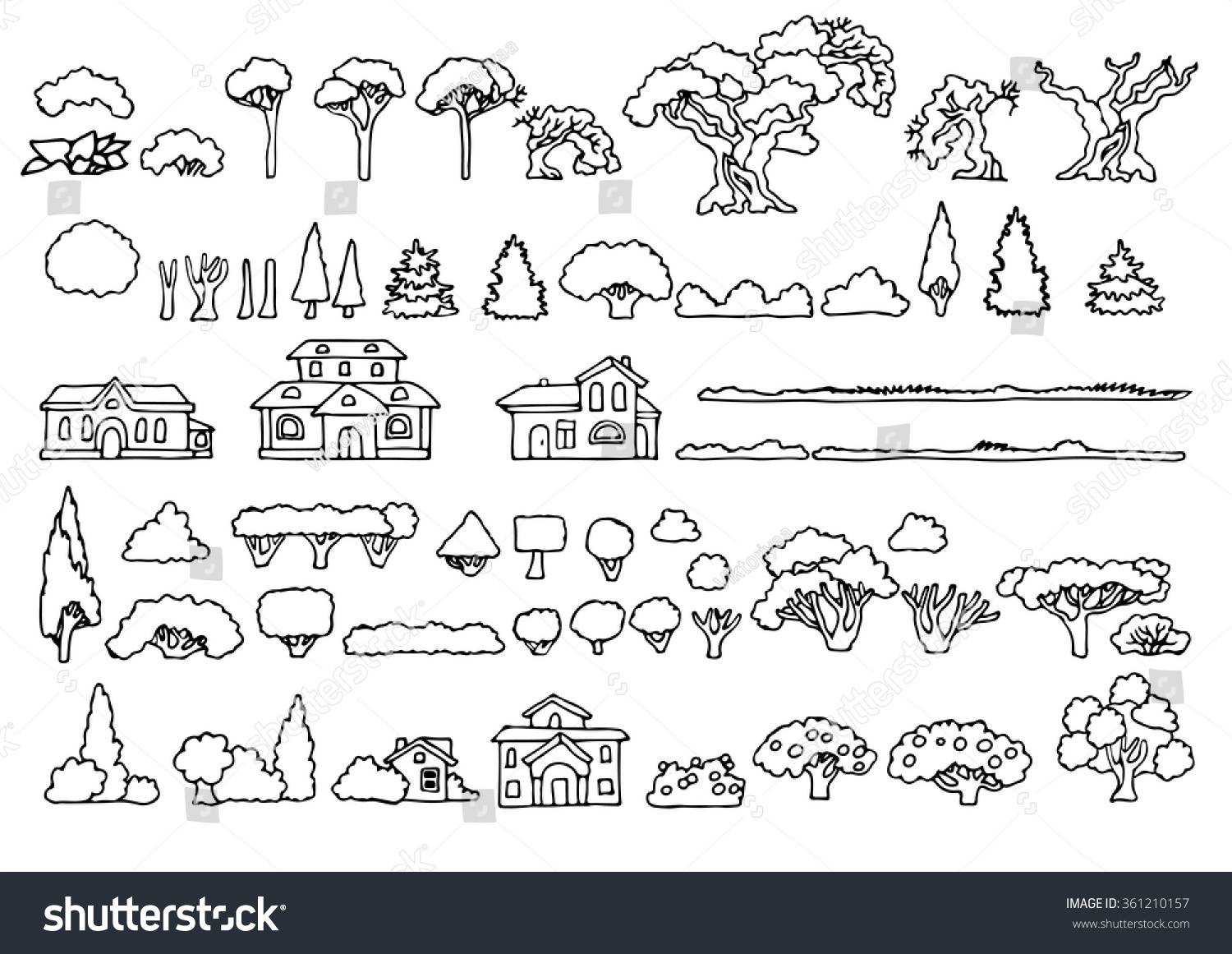 Vector Drawing Lines Examples : Black white line drawinglandscape elements vector stock
