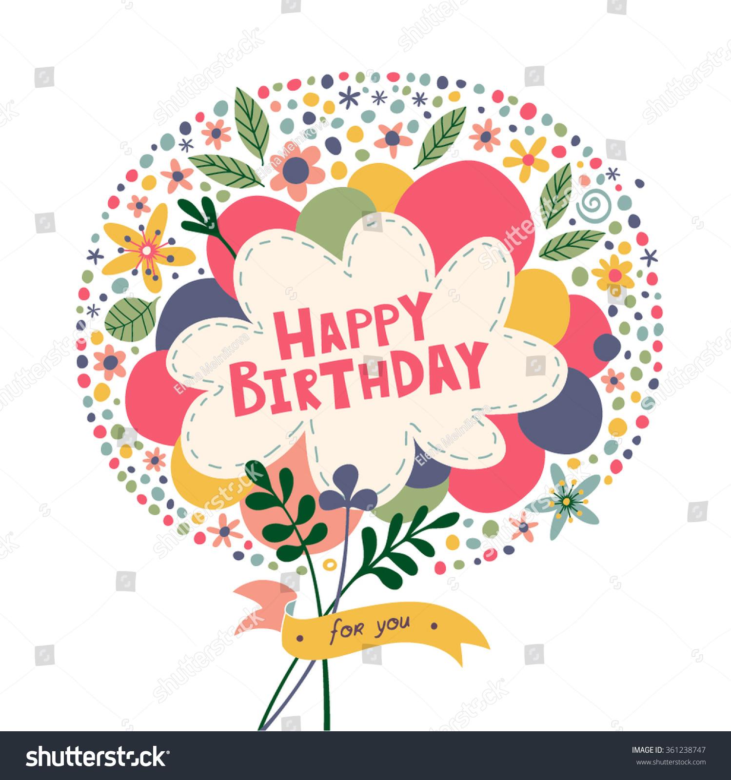 Happy Birthday Bright Composition Circle Balloons Stock Vector