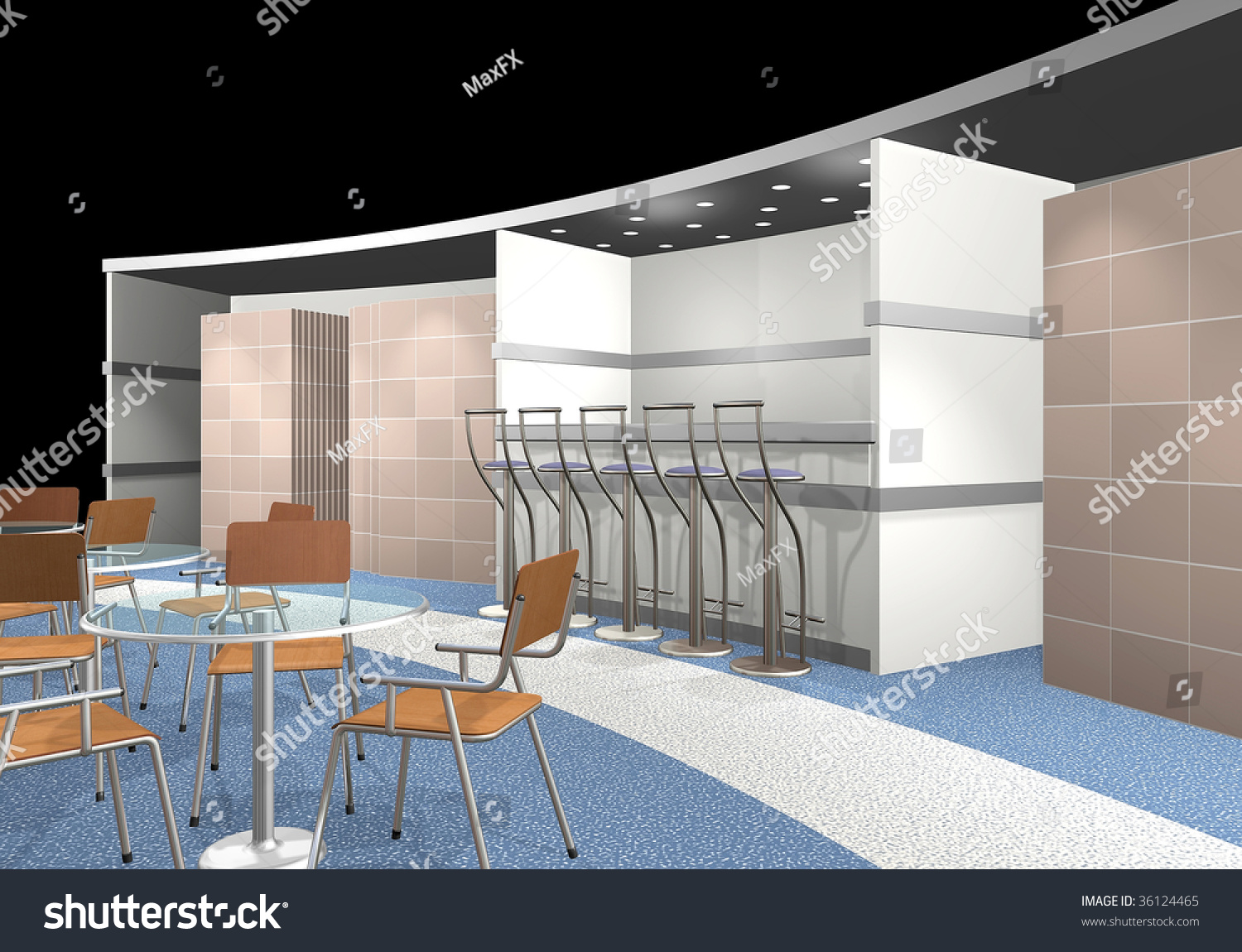 D Rendering Exhibition : D render of an exhibition area stock photo