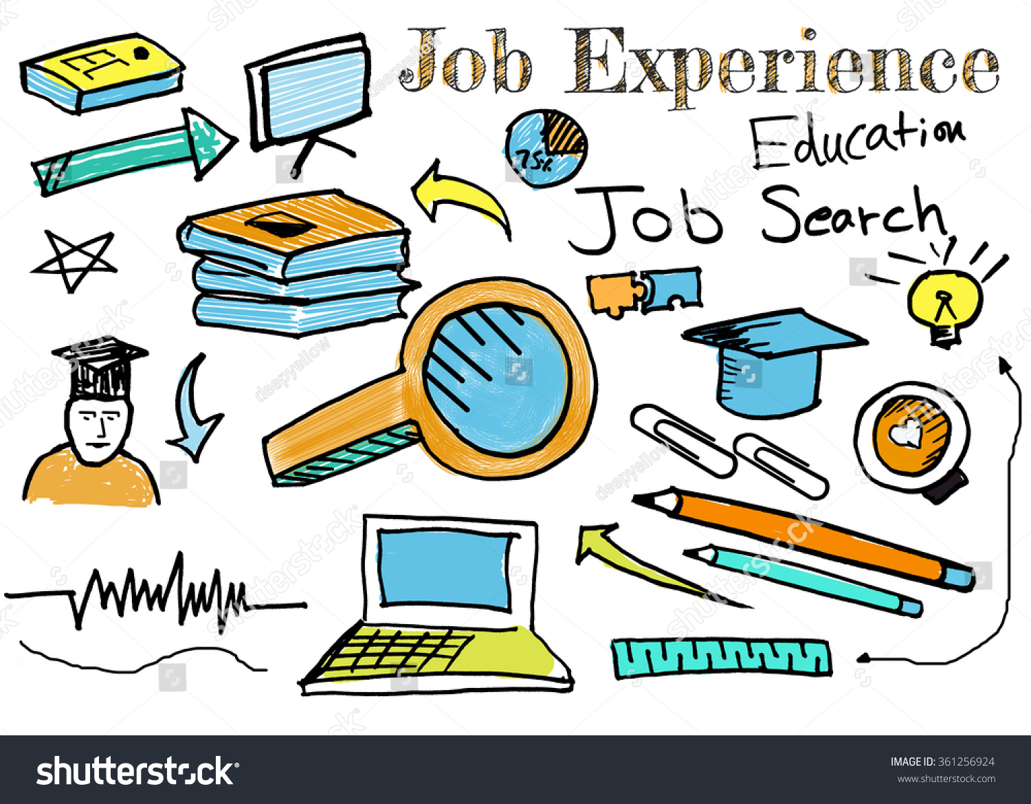 job search drawing icons books pencil stock illustration  job search drawing icons of books pencil ad degree