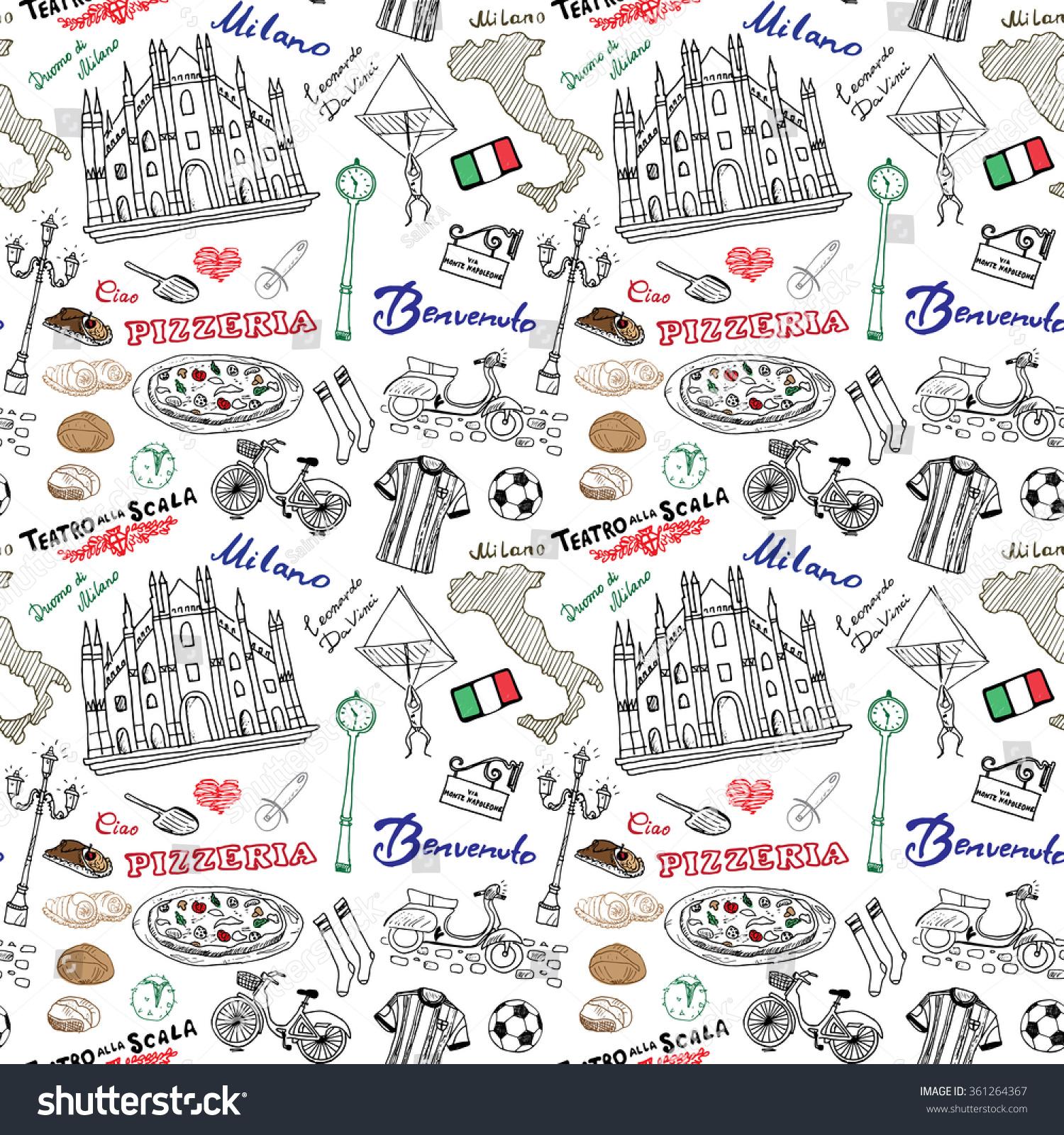 Milan Italy Seamless Pattern Hand Drawn Stock Vector HD Royalty