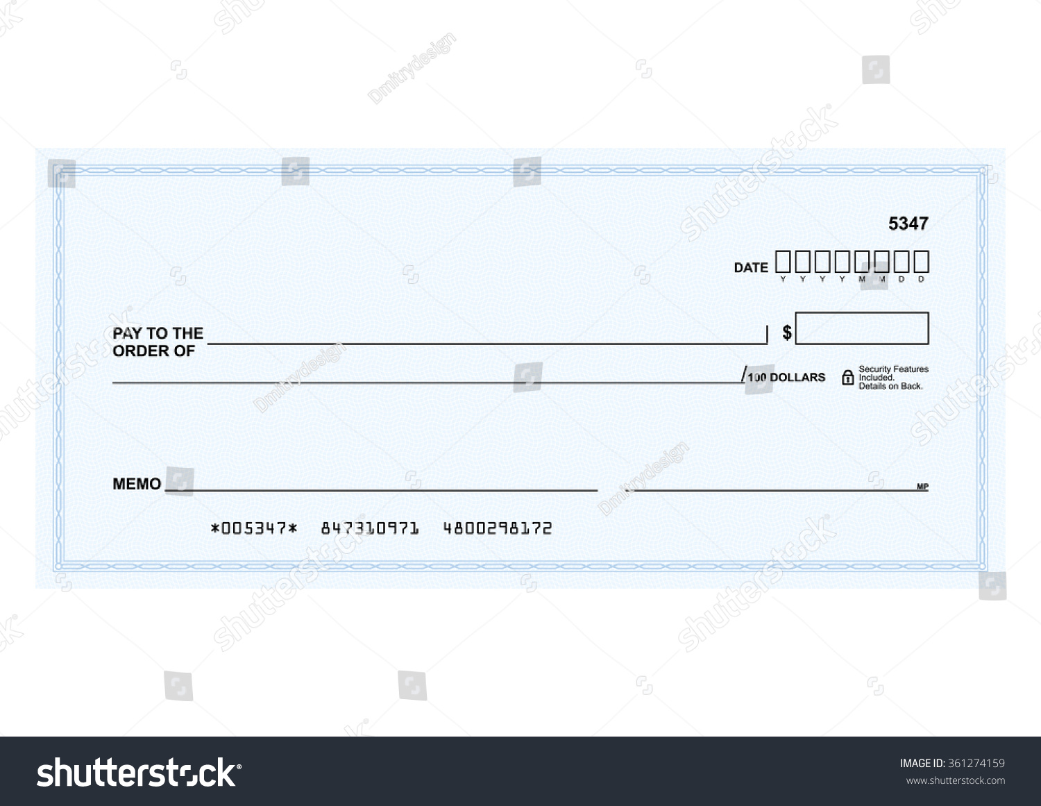 bank check template