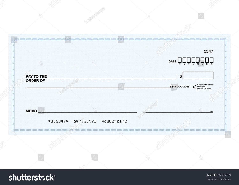 Template Vector Blank Form Bank Check Stock Vector 361274159 ...