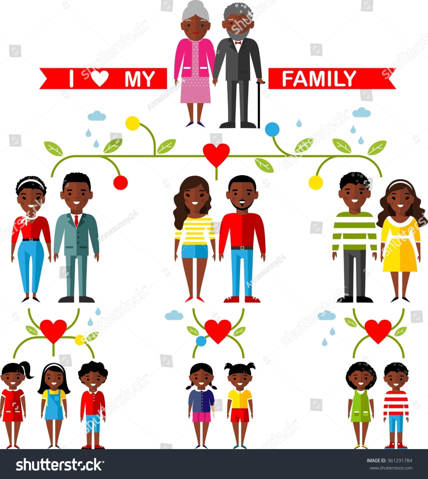 Vector Concept African American Family Tree Stock Vector 361291784 ...