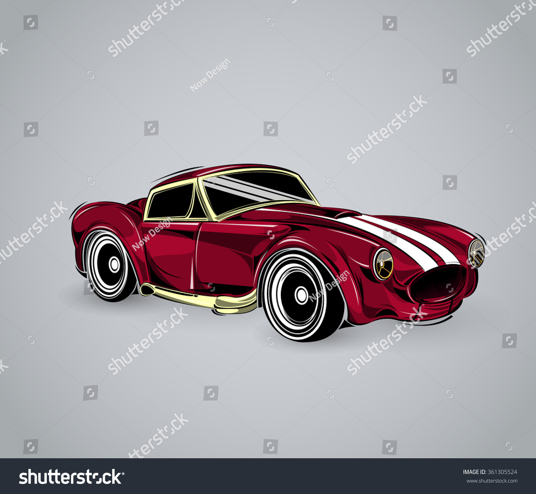 Old School Car Muscle Car Print Stock Vector 361305524 - Shutterstock