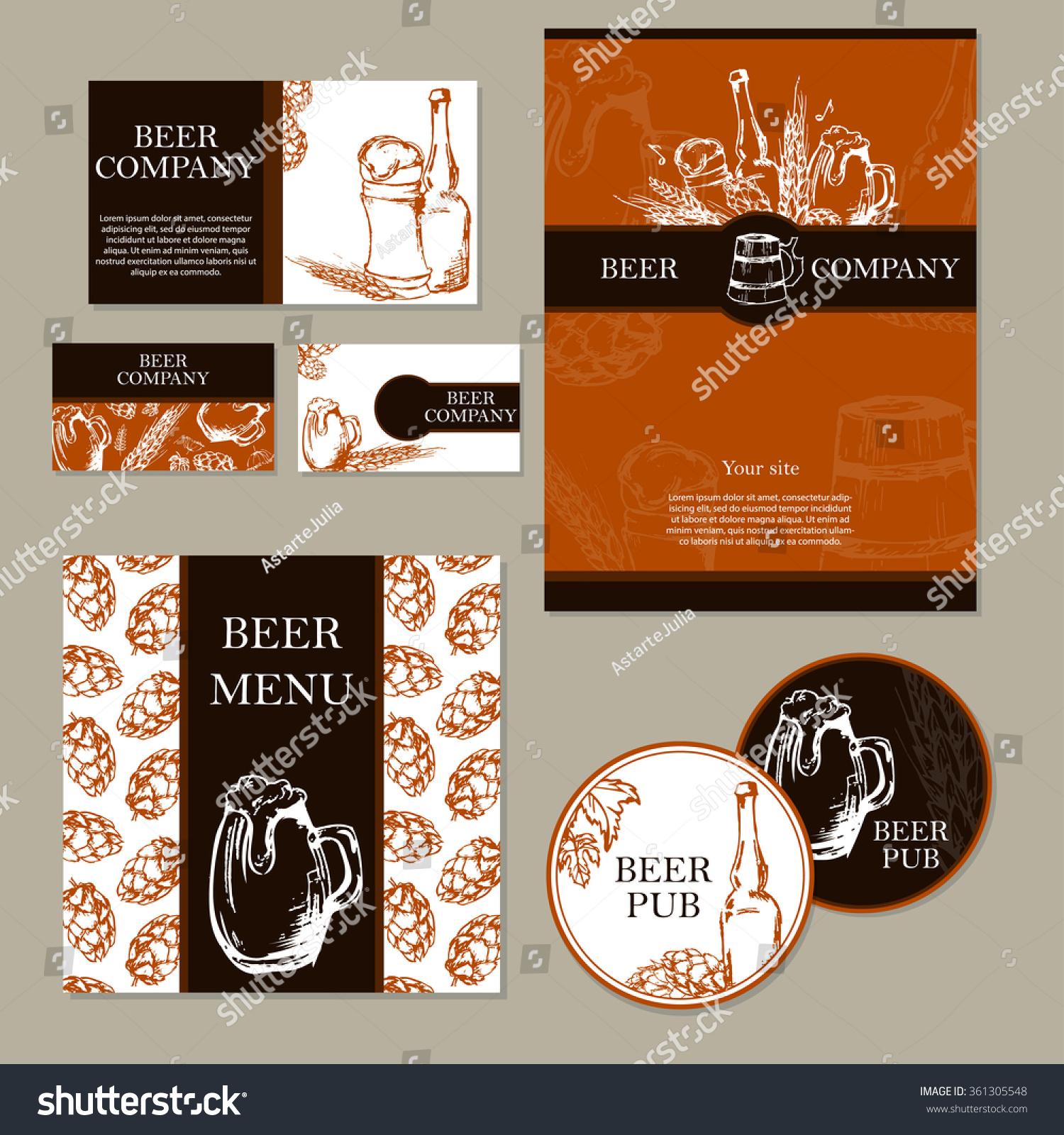 beer menu retro card flyer restaurant stock vector