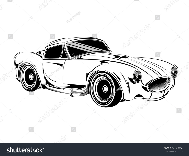 Old School Car Muscle Car Print Stock Vector 361312778 - Shutterstock