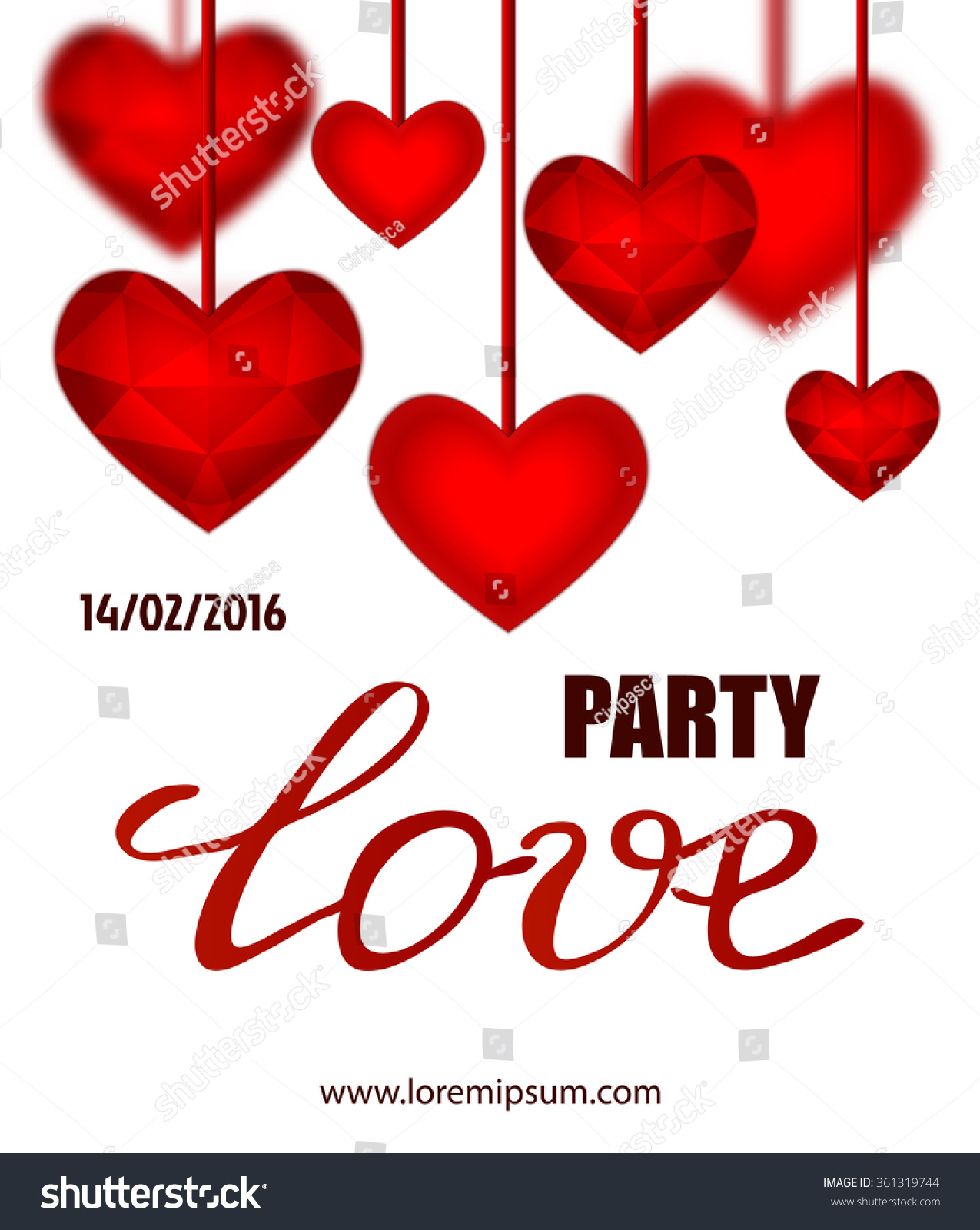 Valentines Party Poster Design Template Invitation Stock Vector HD ...