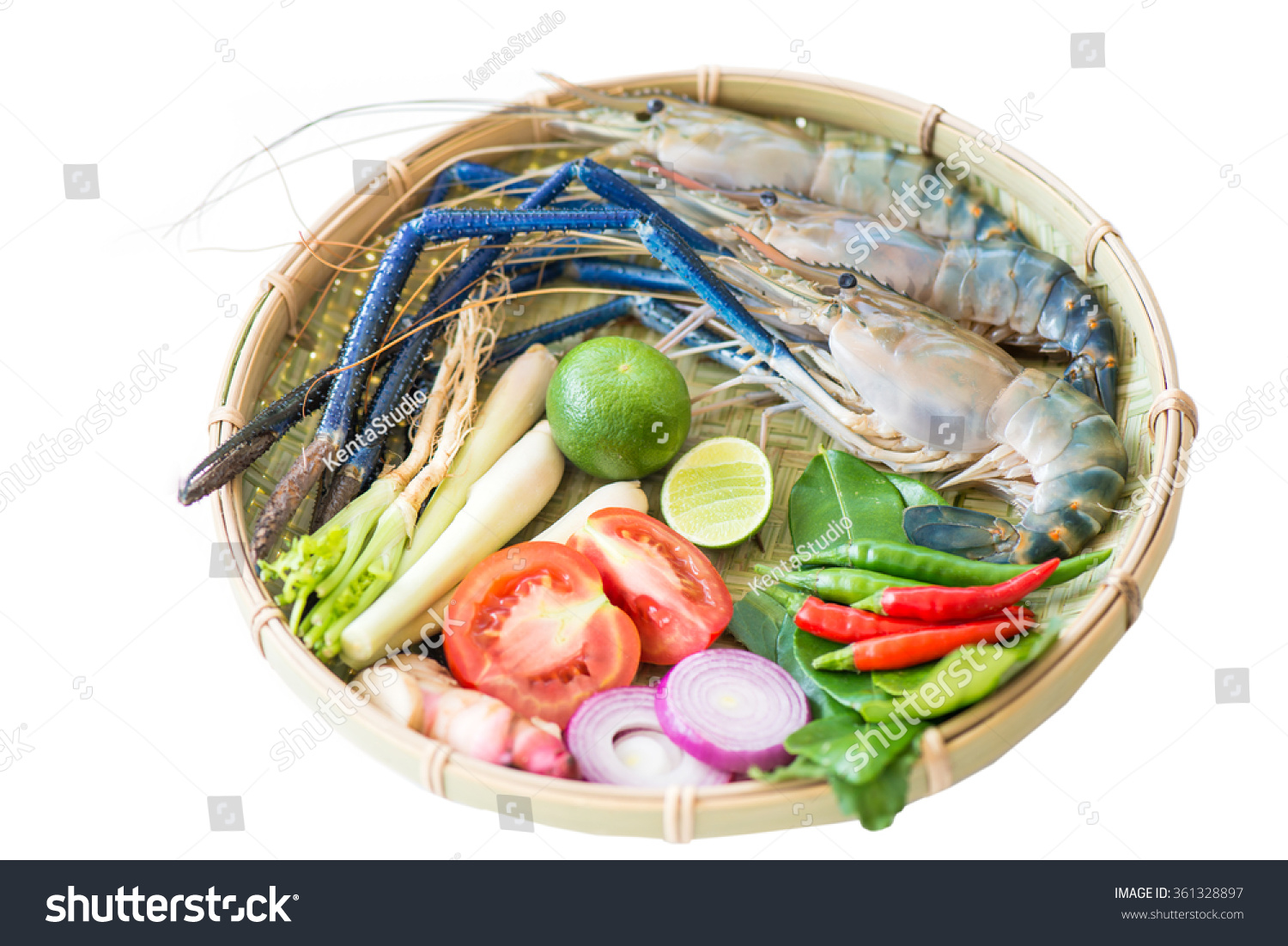 Giant Freshwater Prawn And Ingredient For Tom Yum Goong ...