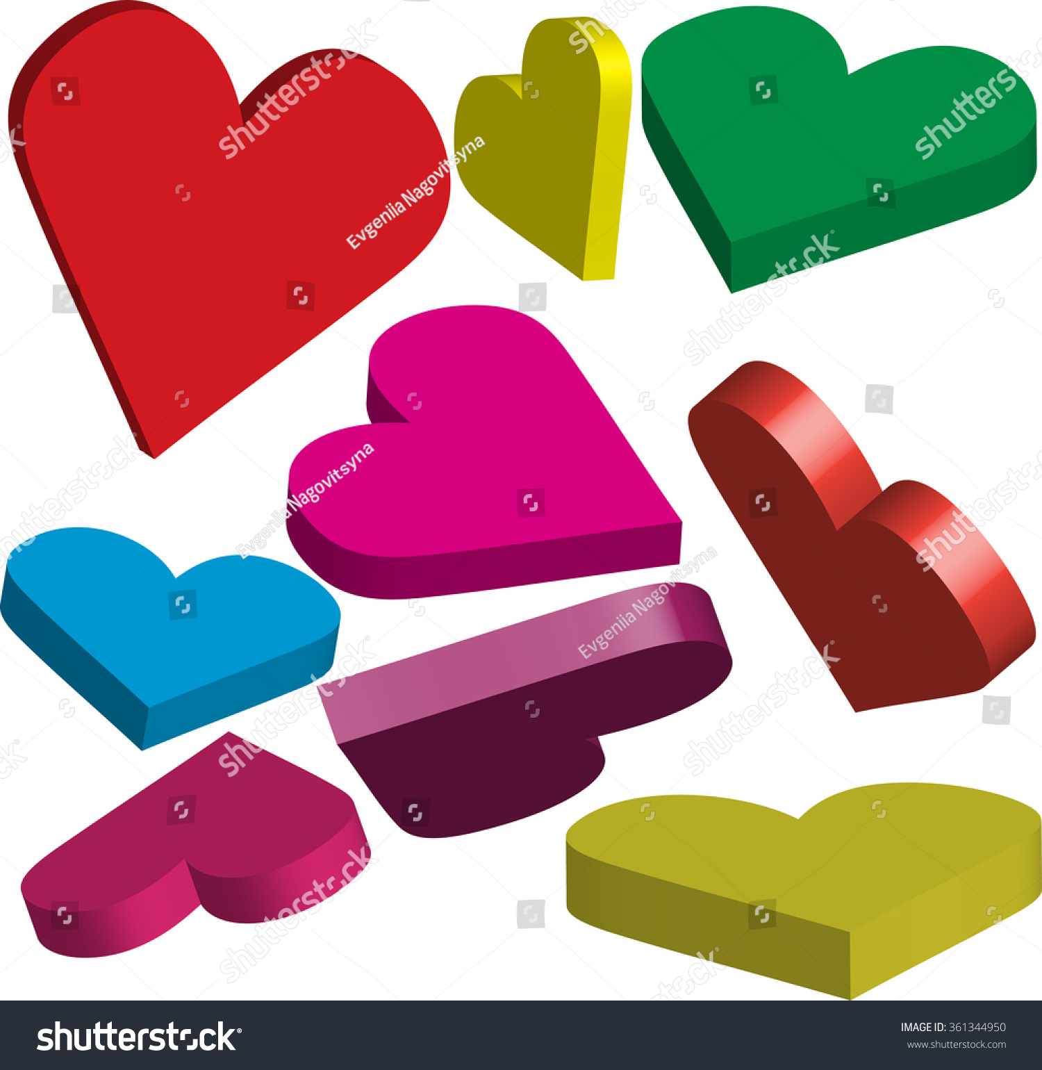 Many Colorful 3 Dimensional Hearts Signs Stock Vector Royalty Free