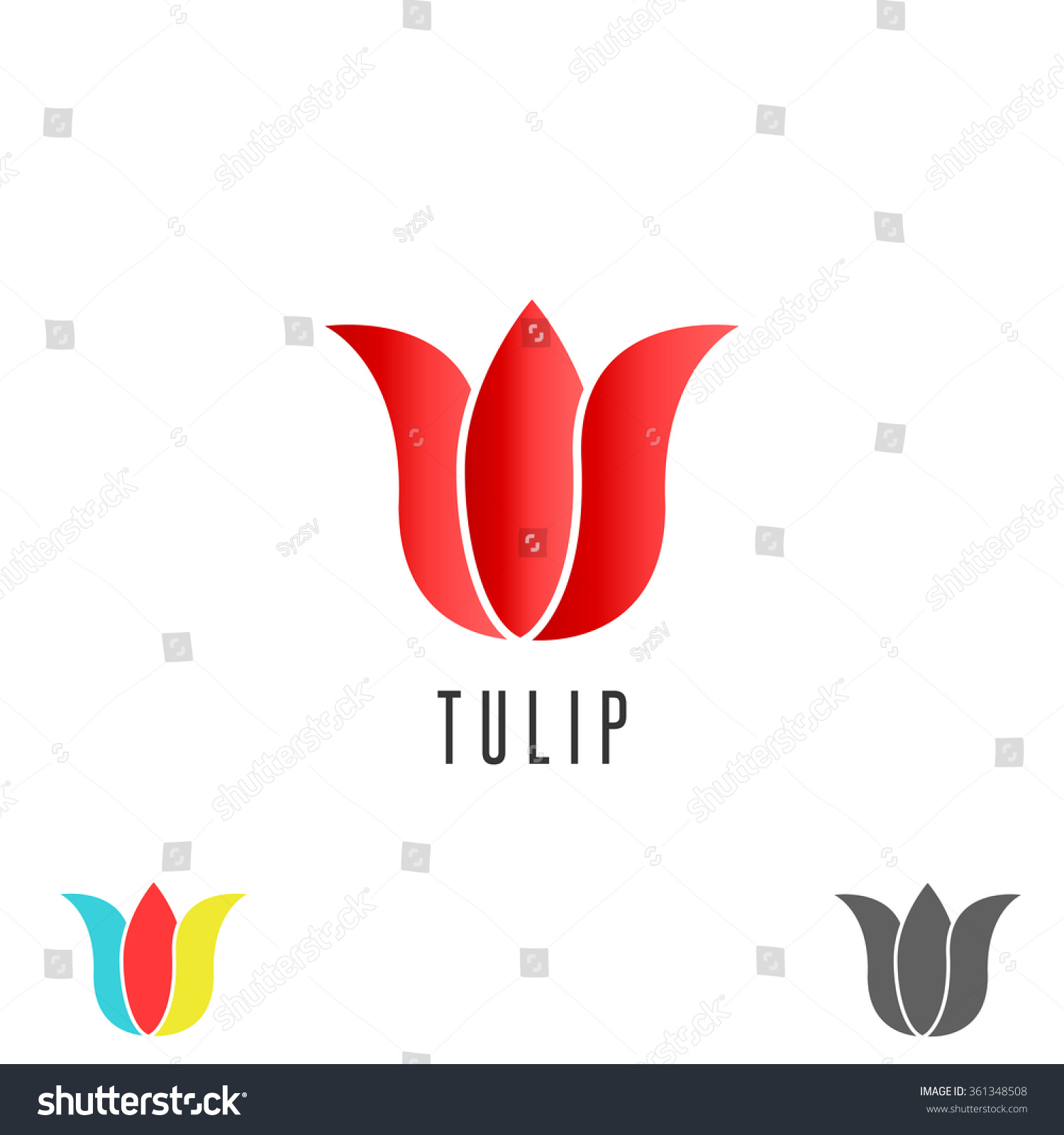 Tulip logo flower mockup cosmetic spa simple emblem for Salon simple