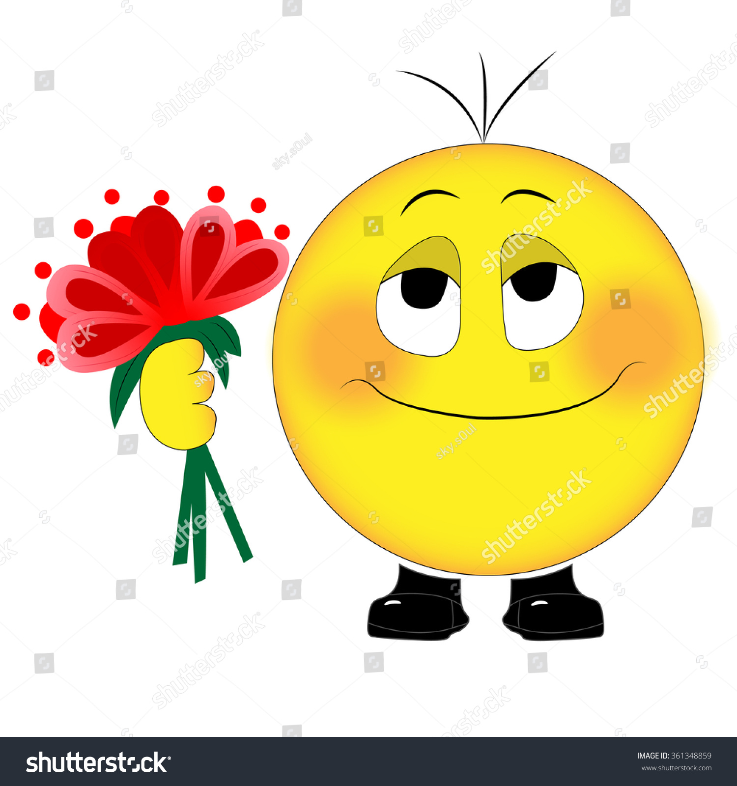 Valentine S Day Smiley Red Flowers Stock Vector 361348859