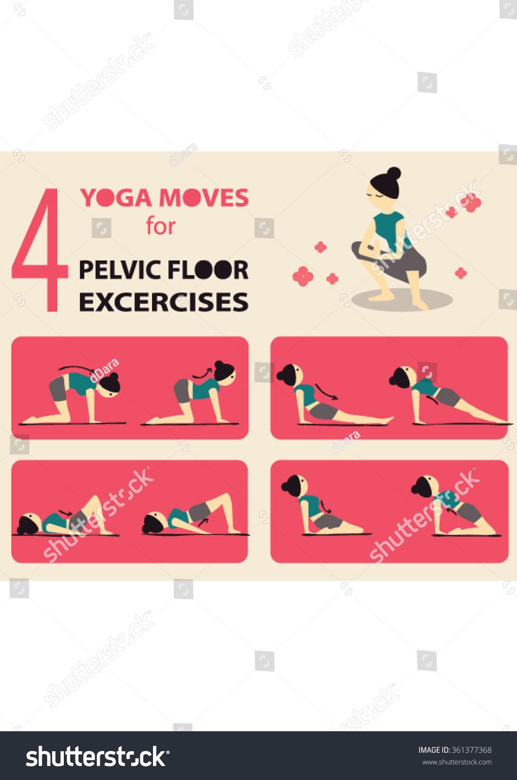 Exercises Strengthen Pelvic Floor Muscles Stock Vector ...