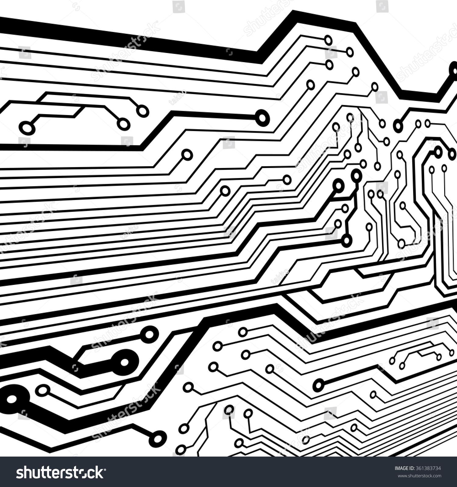Circuit Board Pattern Black White Color Stock Vector 361383734 ...
