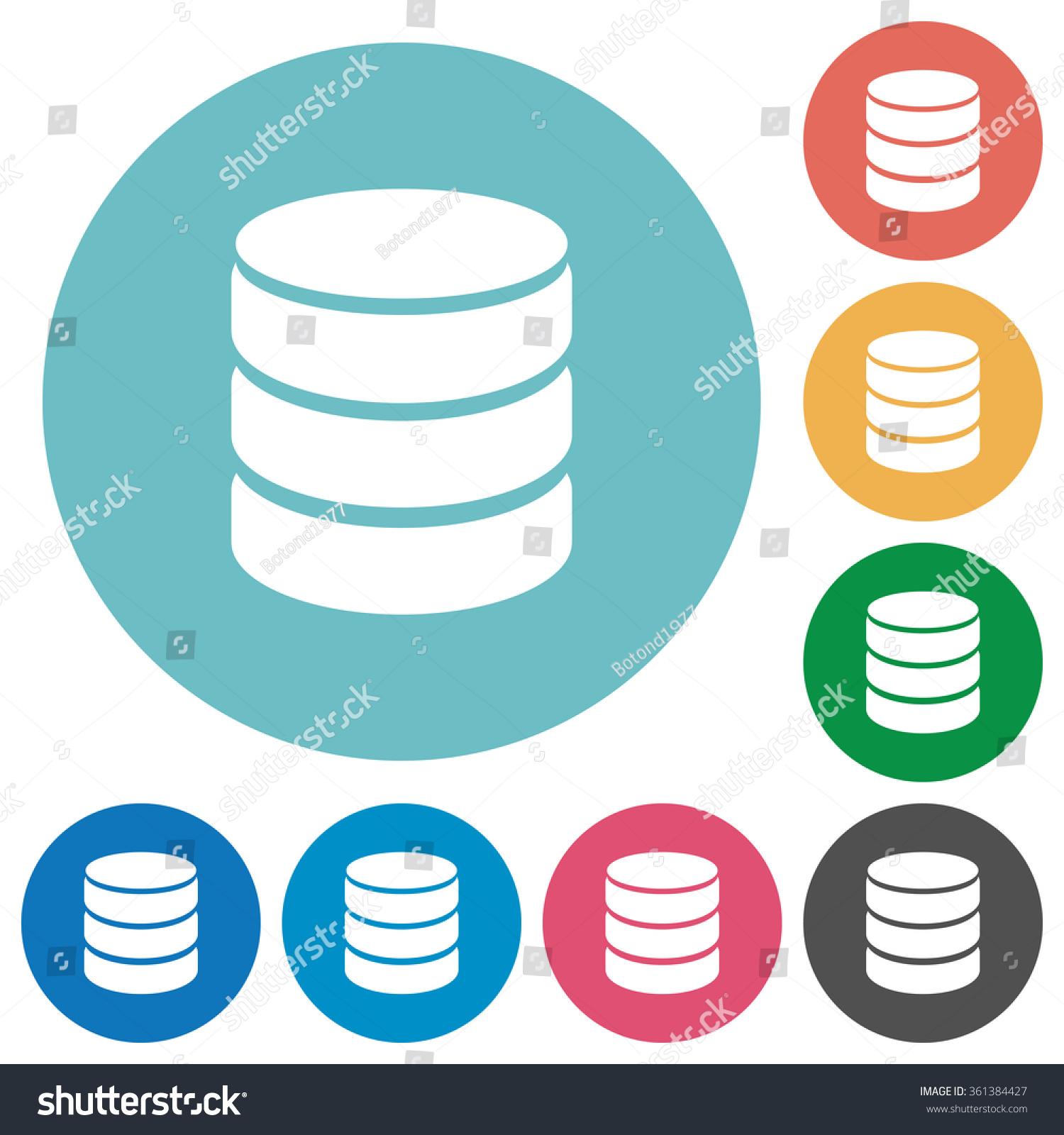 Flat Database Icon Set On Round Stock Vector 361384427 ...
