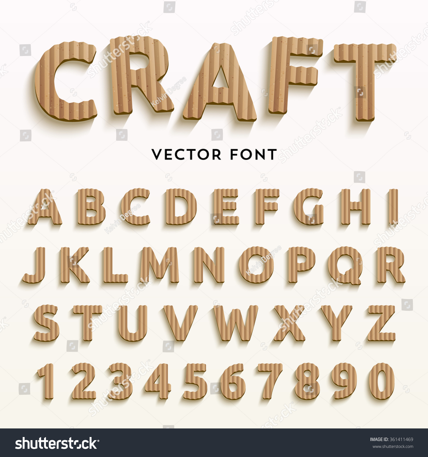Vector cardboard letters realistic paper style stock for Alphabet letters cardboard