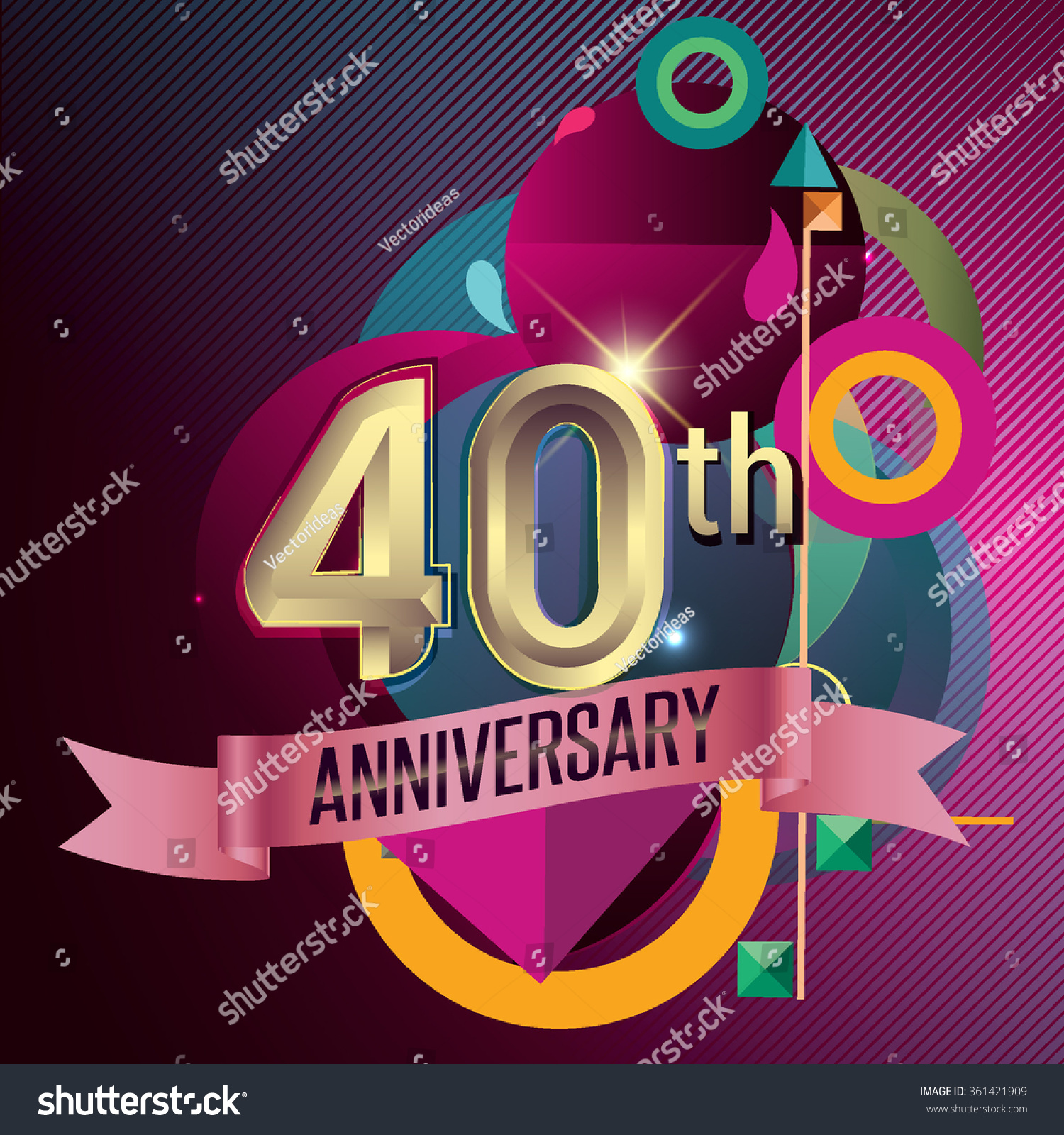 40th Anniversary Party Poster Banner Invitation Stock Vector ...