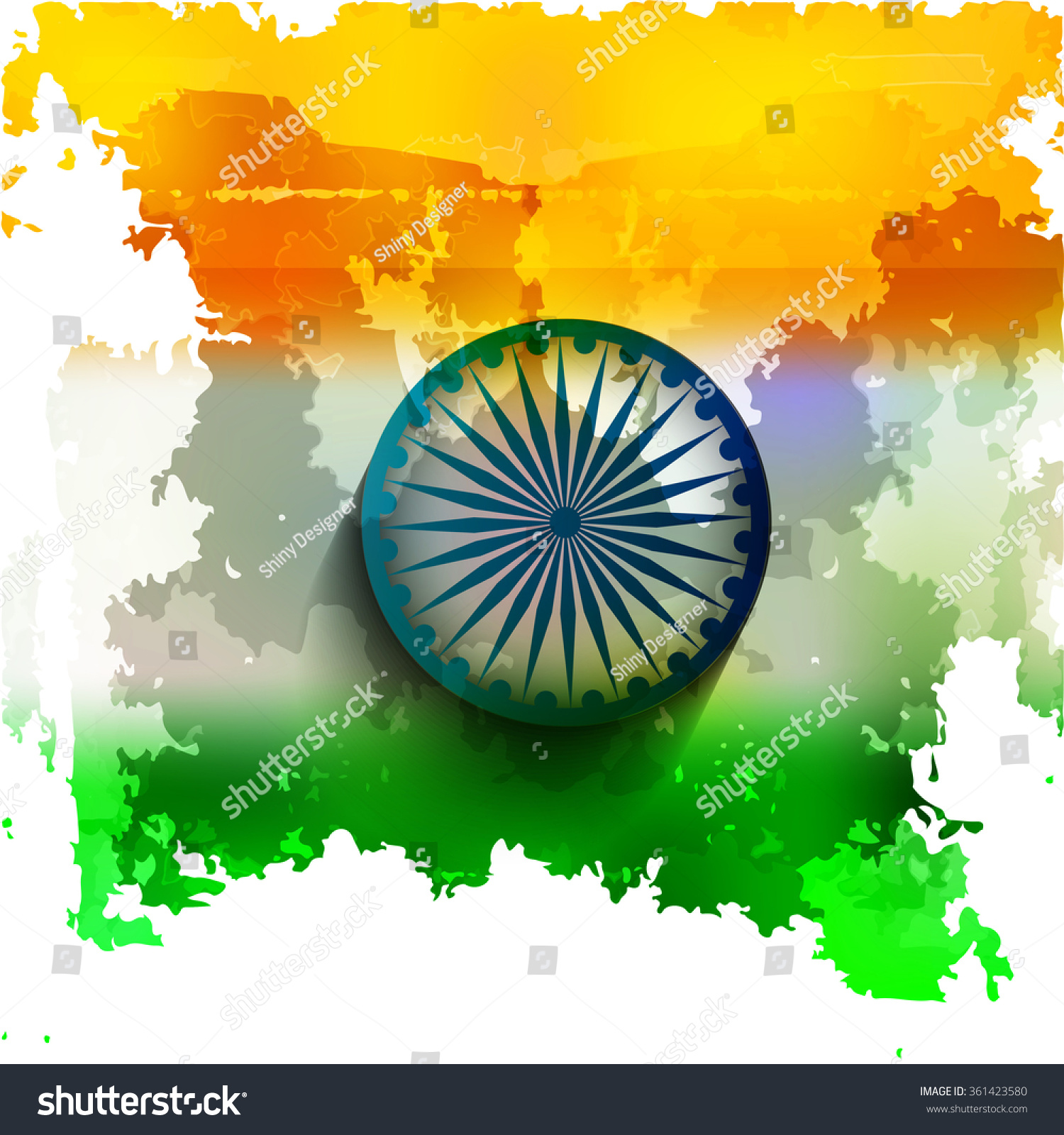 Textured Indian Flag Design Vector Stock Vector (Royalty Free) 361423580