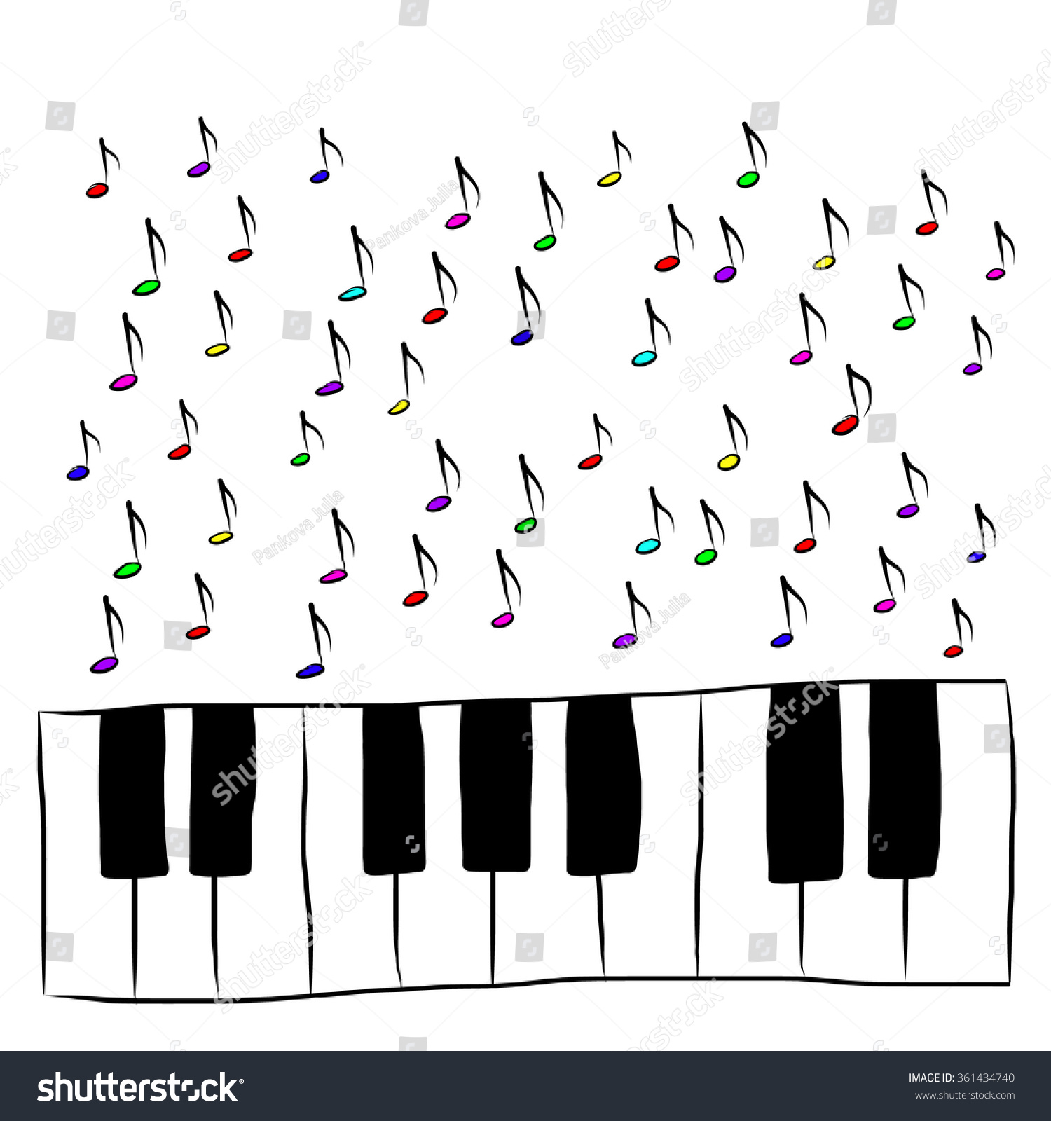 Piano Keyboard Notes Colored Stock Vector 361434740 - Shutterstock