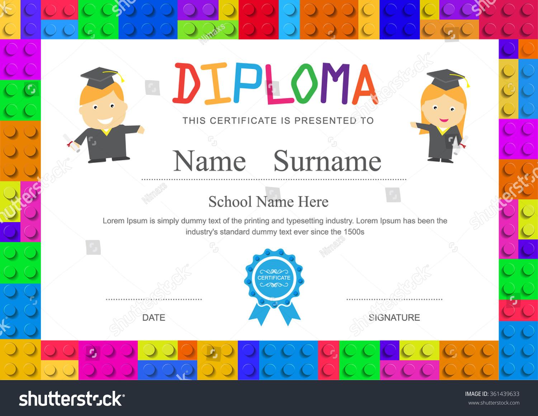Kids diploma preschool elementary school design certificate background ...