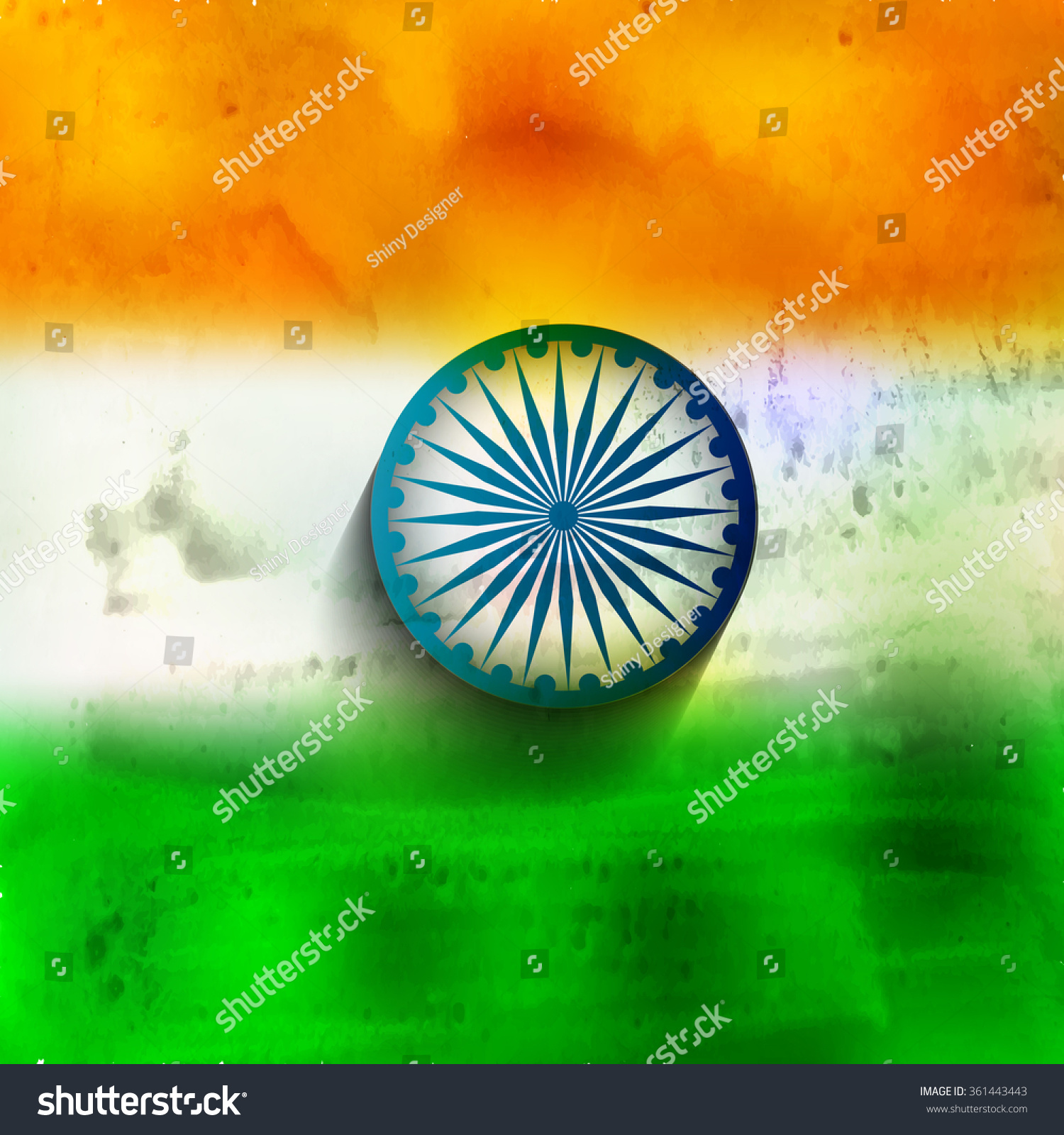Watercolor Tricolor Background Indian Flag Design Stock Vector