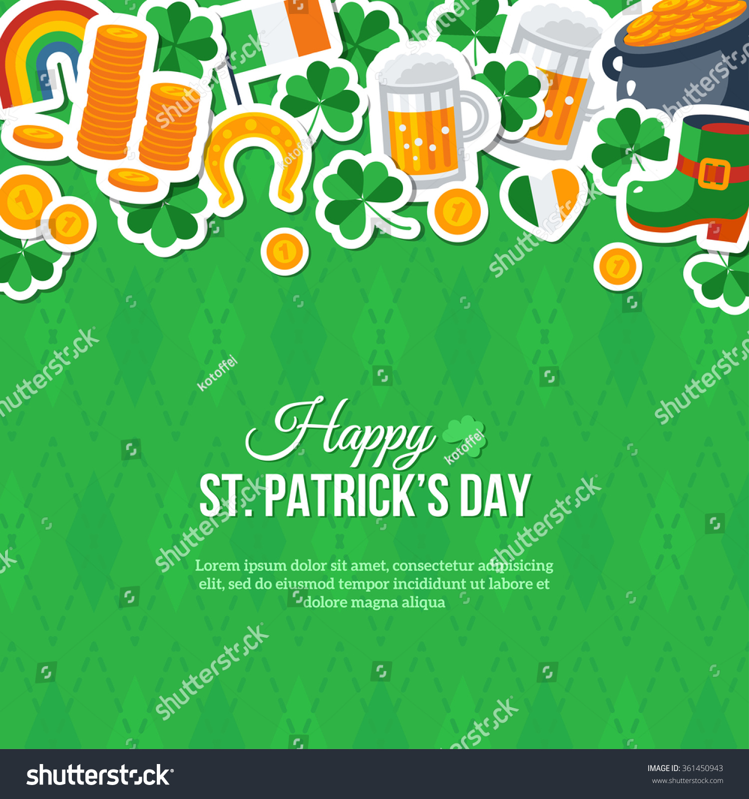 Happy St Patricks Day Greeting Card Stock Photo (Photo, Vector ...