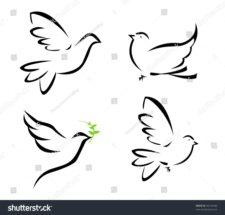 Vector Illustration Flying Dove Stock Vector 36145366 ...