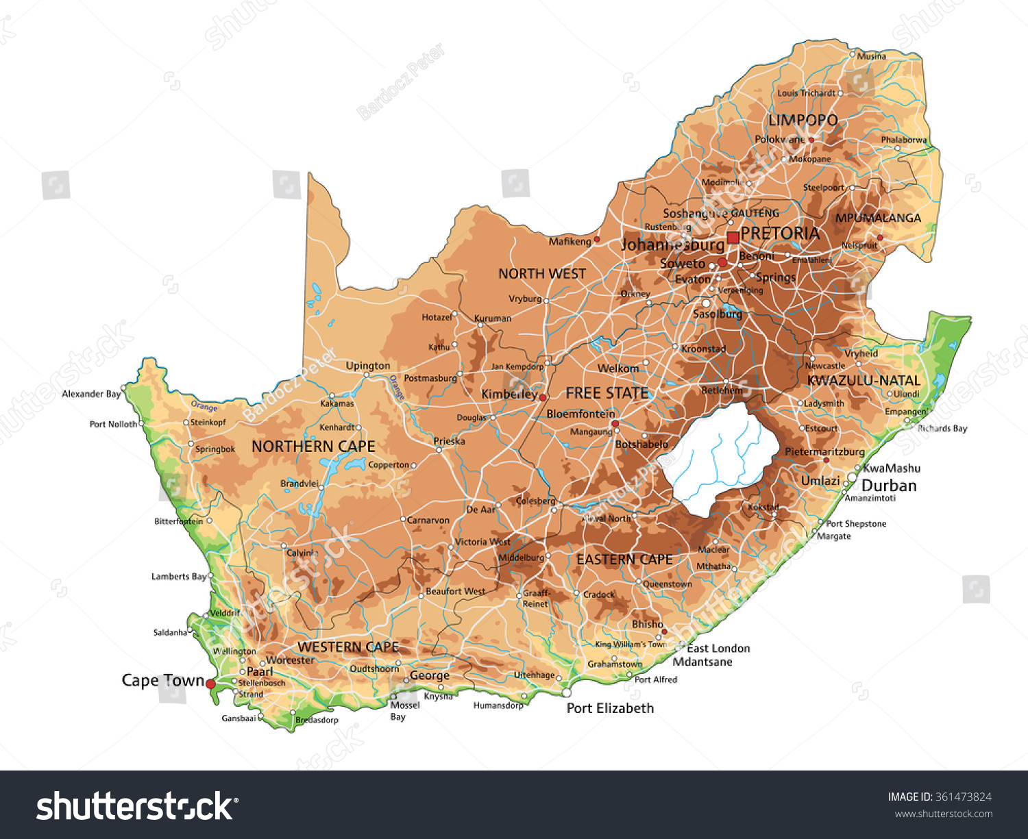 High Detailed South Africa Physical Map Stock Vector - Africa physical map
