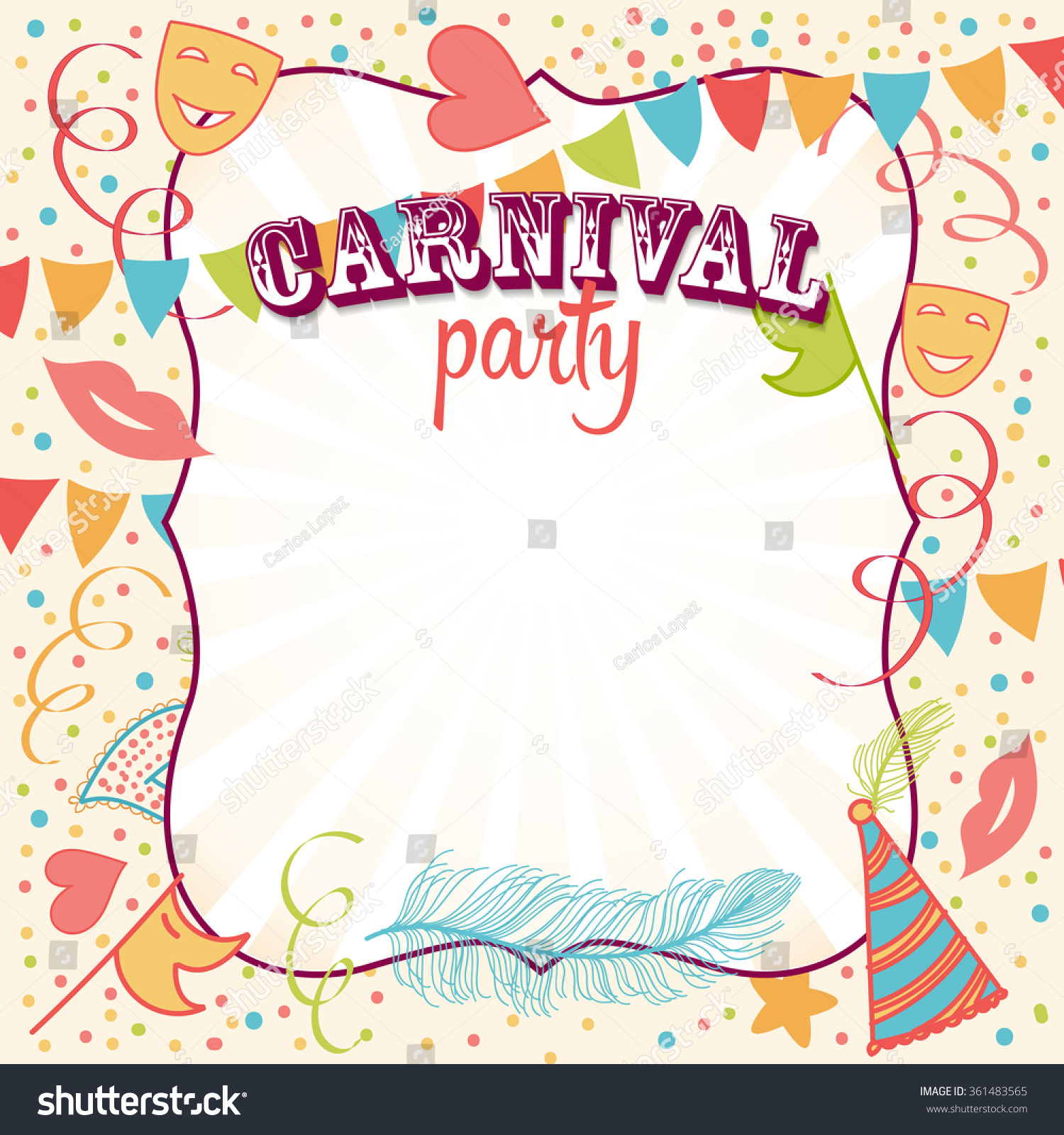 carnival party invitation background masks hats stock vector