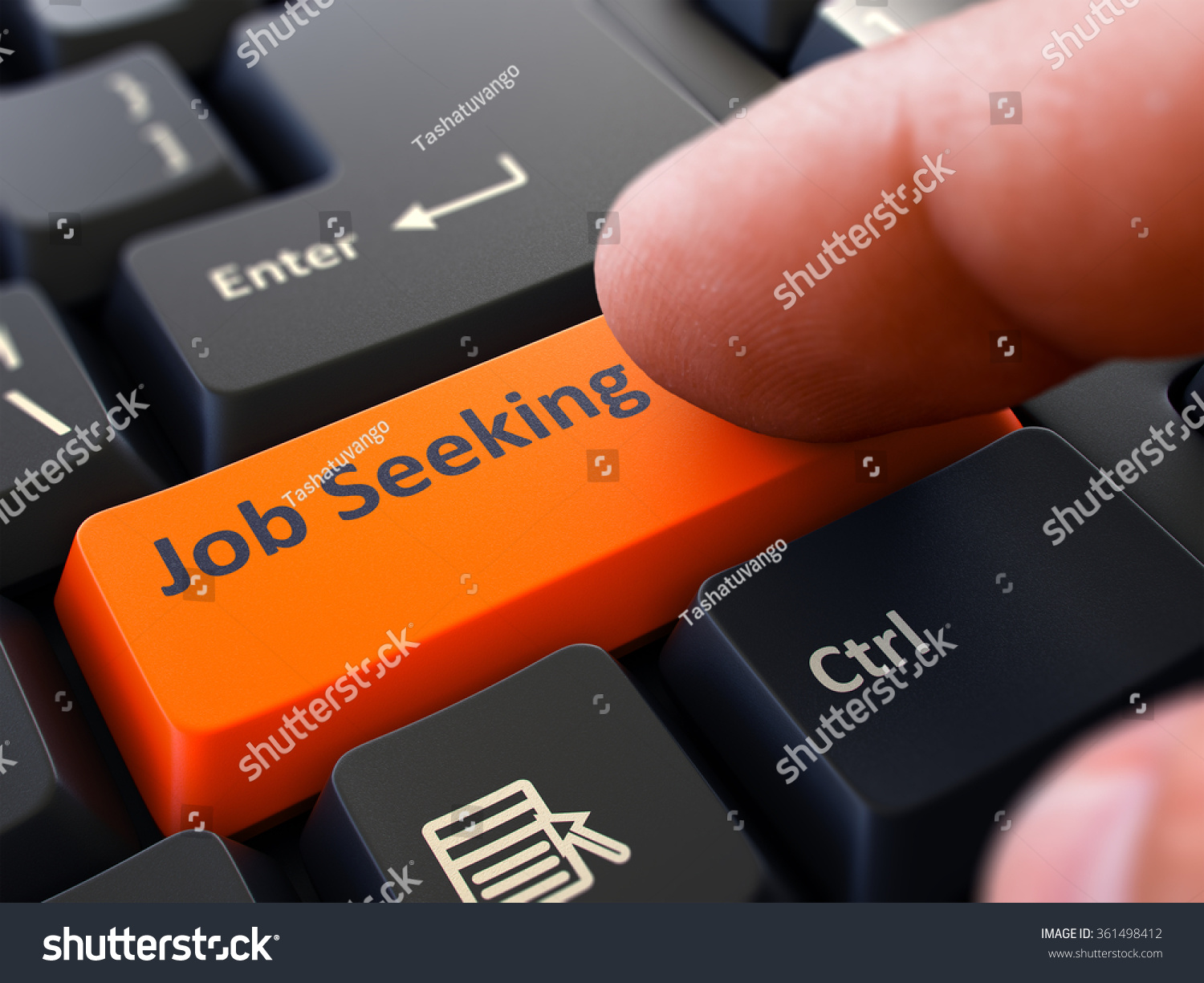job seeking orange button finger pushing stock illustration job seeking orange button finger pushing button of black computer keyboard blurred background
