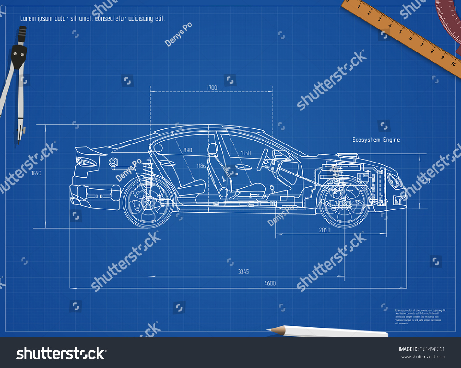 Detailed engineering blueprint car vector illustration stock vector detailed engineering blueprint of the car vector illustration malvernweather Choice Image