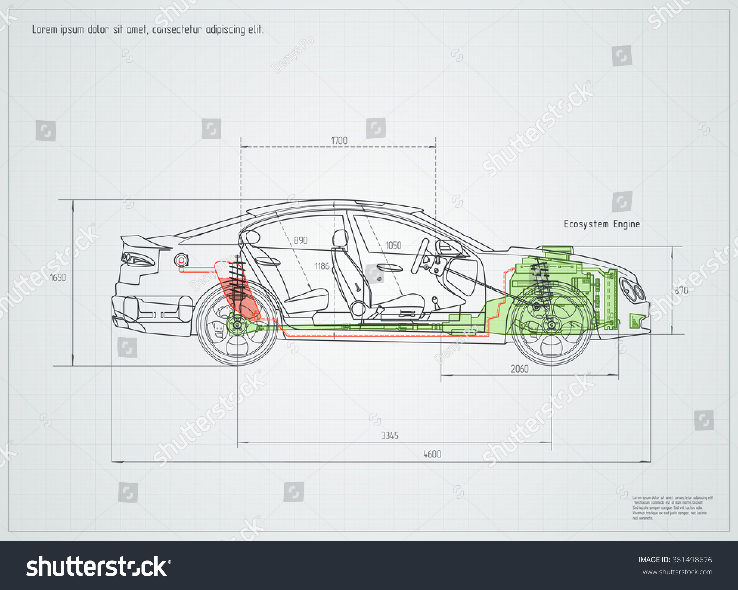 Detailed Engineering Drawing Car Vector Illustration Stock Vector ...