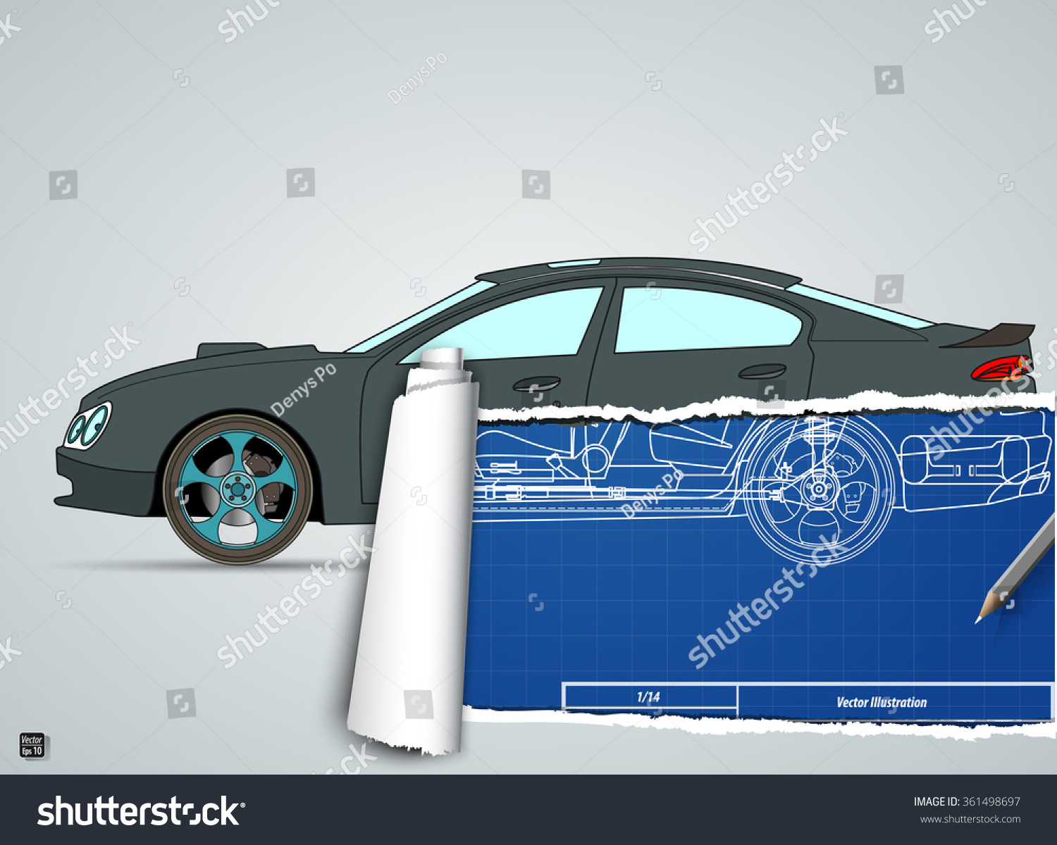 Torn drawing car on blueprint car vectores en stock 361498697 torn drawing car on the blueprint car vector illustration eps 10 malvernweather Image collections