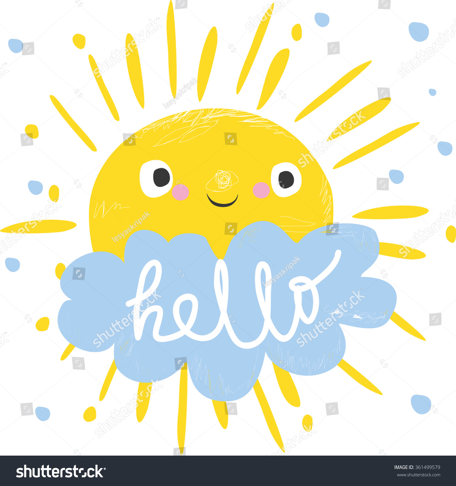 Cute sun cloud says hello vector em vetor stock 361499579 shutterstock cute sun and cloud says hello vector illustration card for kids stopboris Choice Image