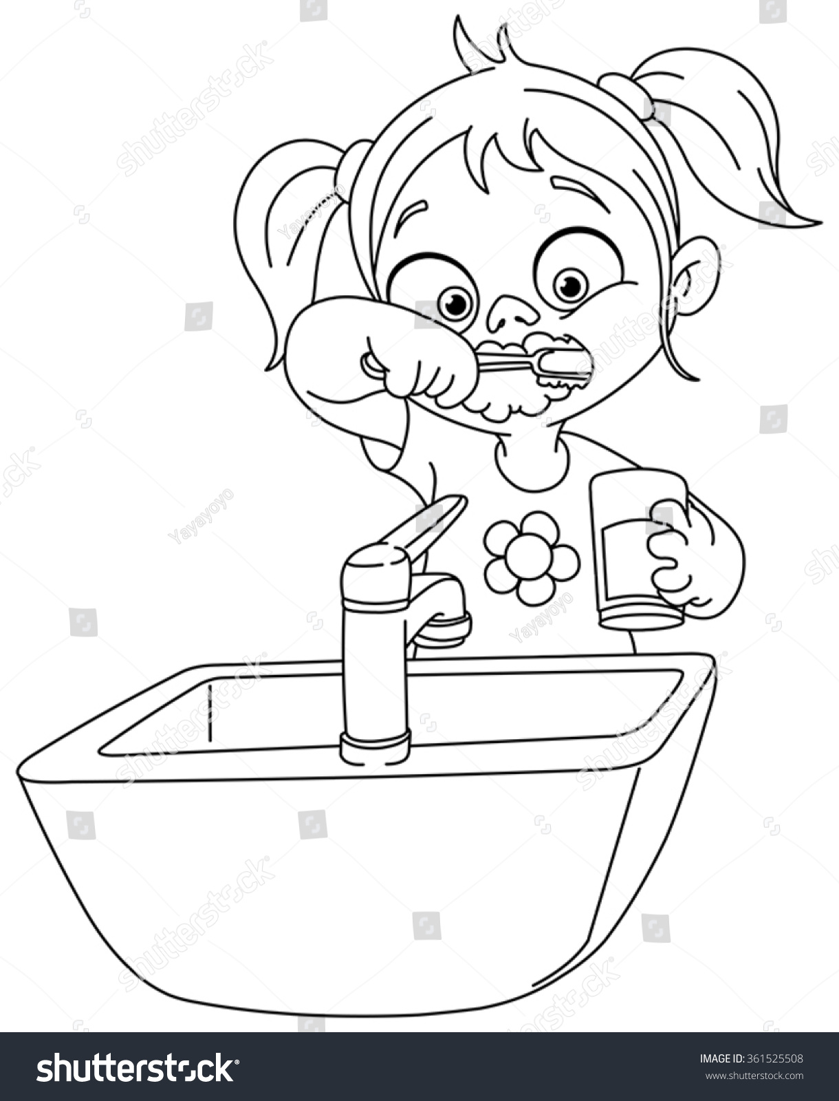 outlined young brushing her teeth stock vector 361525508