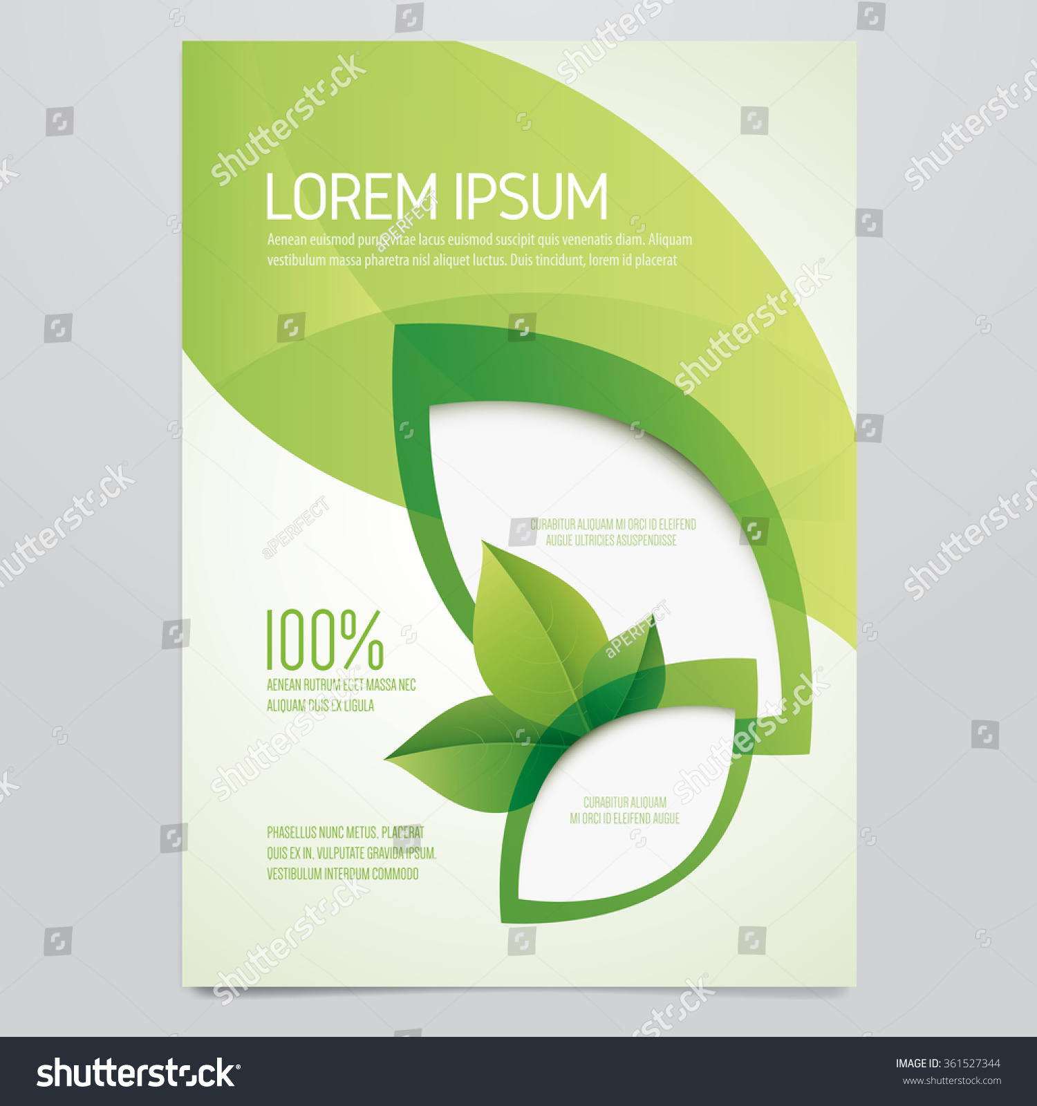 Poster design environment - Brochure Flyer Poster Magazine Cover Vector Template Modern Green Leaf Environment