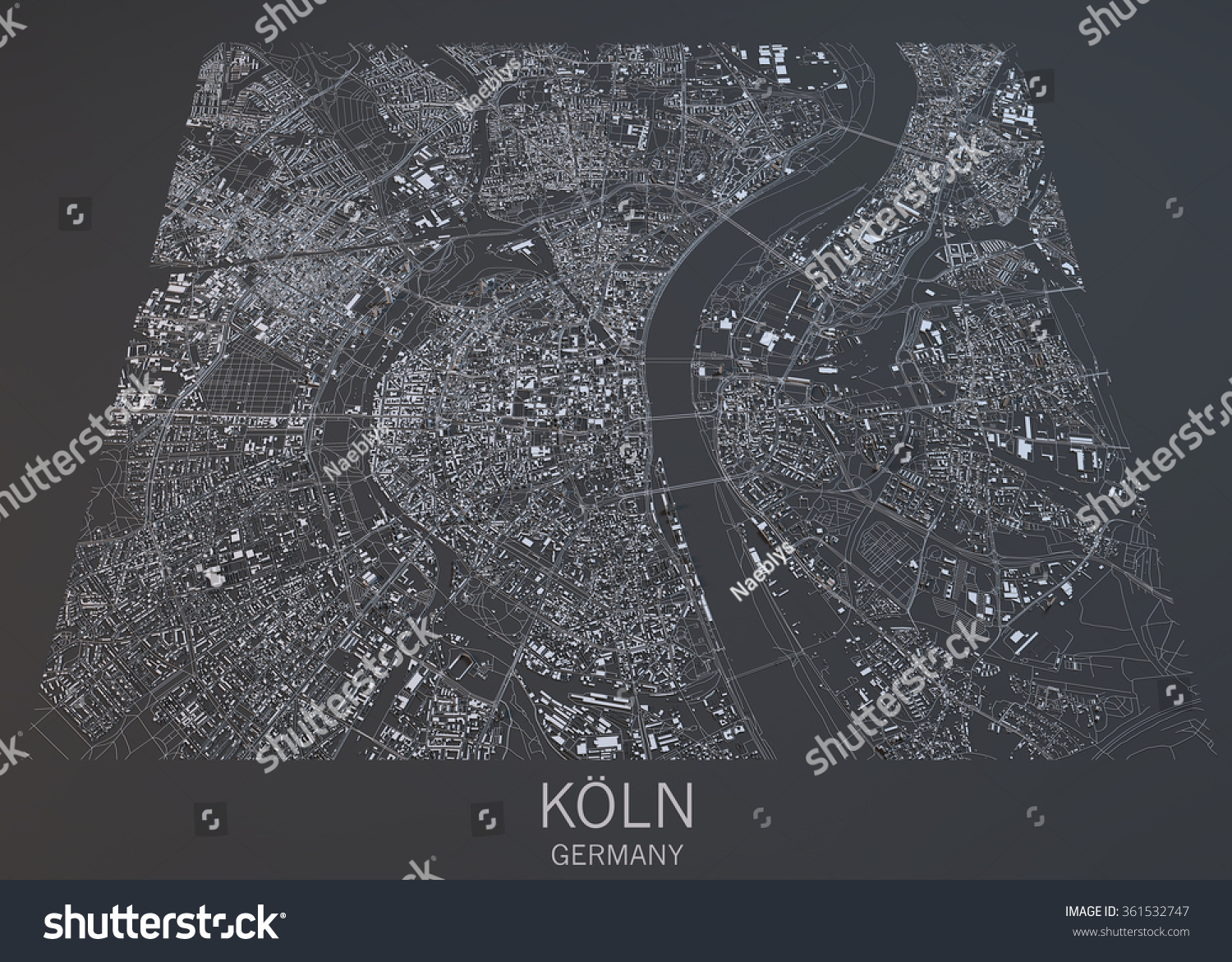 Cologne Map Satellite View Germany Stock Illustration - Germany map view