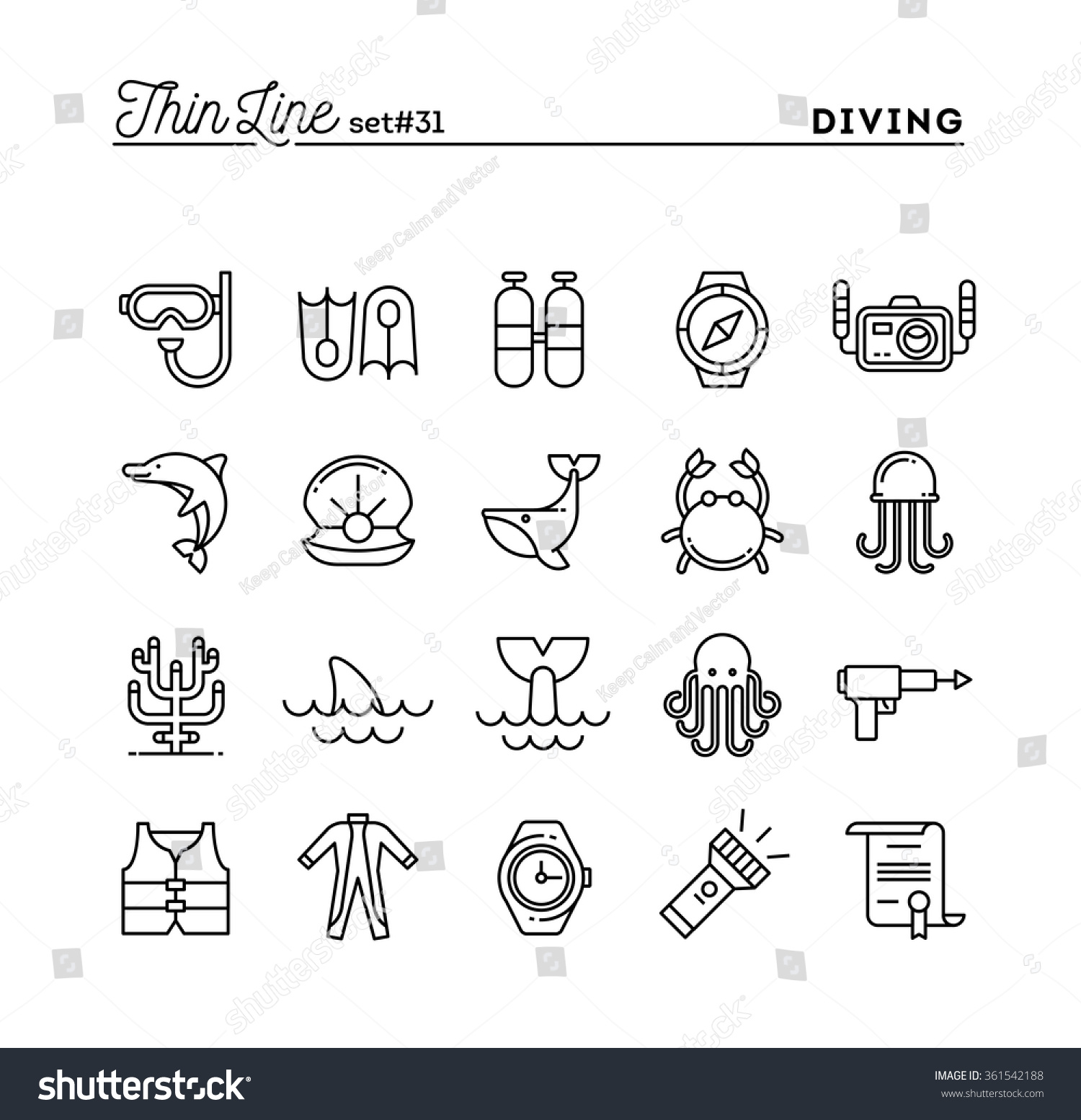 scuba diving underwater animals equipment certificate stock vector