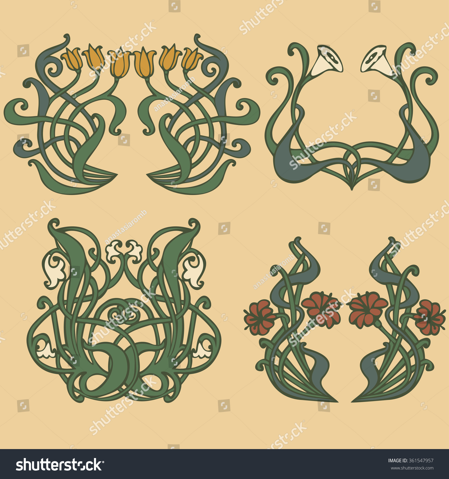 art nouveau art deco floral ornaments stock vector. Black Bedroom Furniture Sets. Home Design Ideas