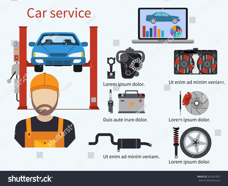 car service diagnostics elements auto mechanic stock vector 361561697 shutterstock. Black Bedroom Furniture Sets. Home Design Ideas