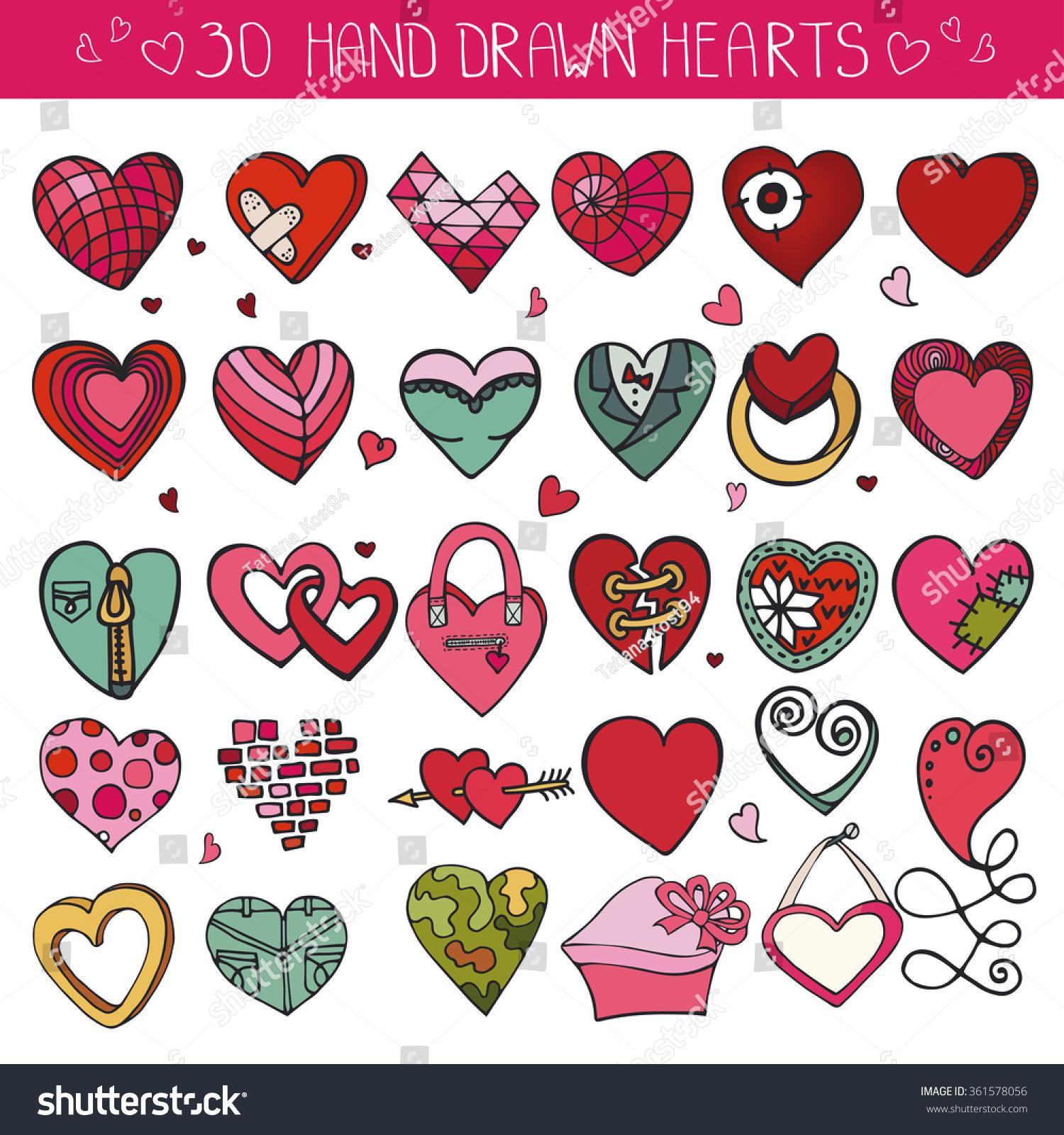 Heart Icons Set Valentineweddinglove Symbols Vintage Heart Love