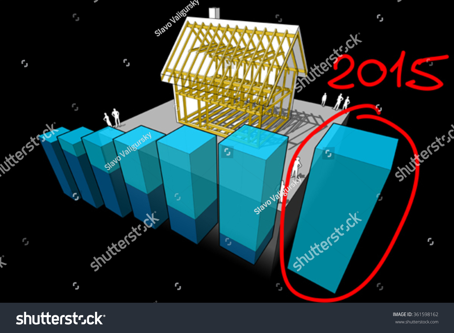 Simple Detached House Wooden Framework Construction Stock Vector ...