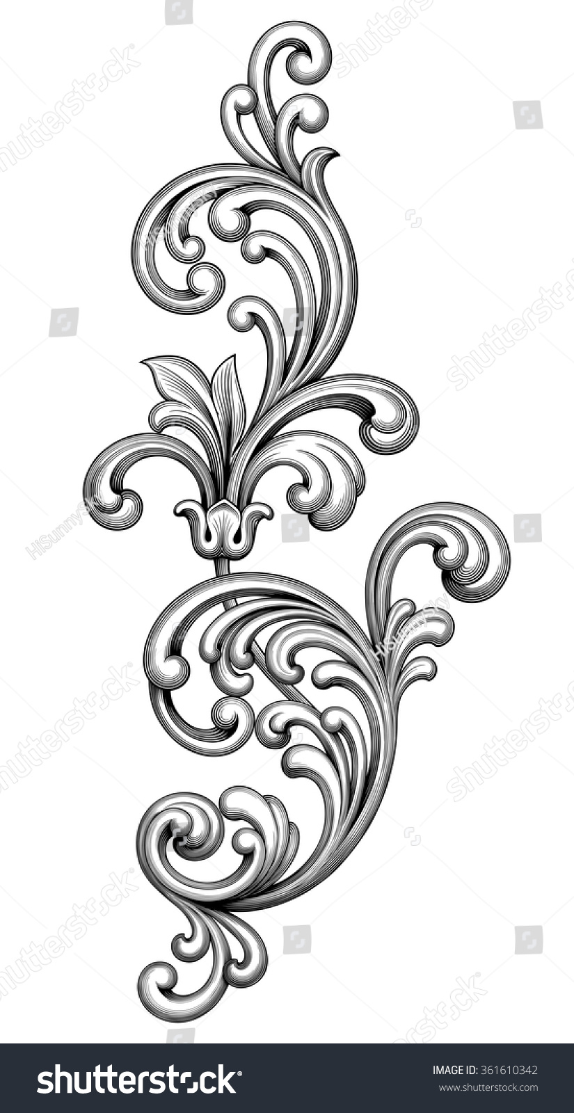 vintage baroque victorian frame border monogram stock vector 361610342