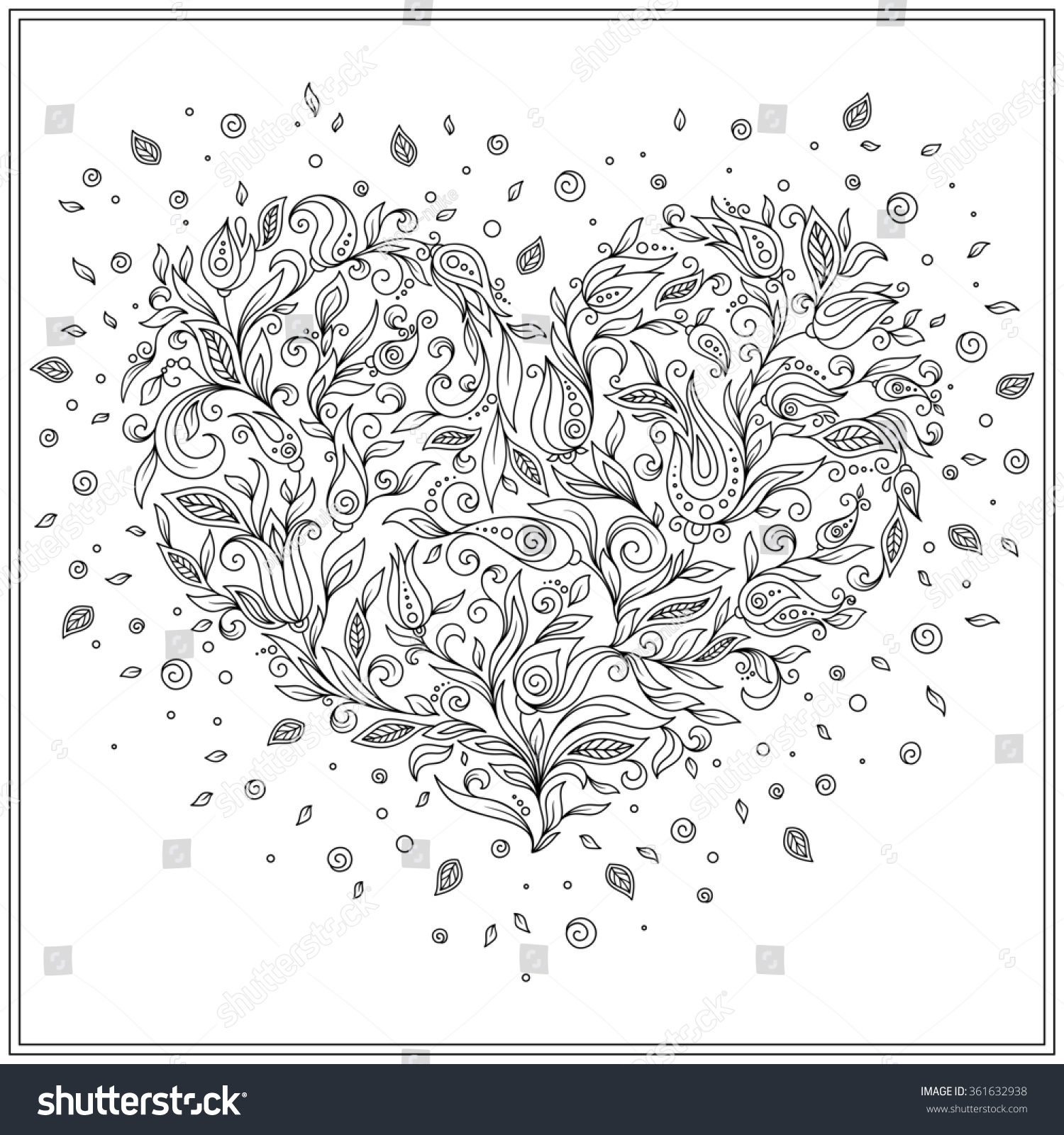 Coloring Pages St Valentine Coloring Pages coloring page flower heart st valentines stock vector 361632938 day with details isolated on white background