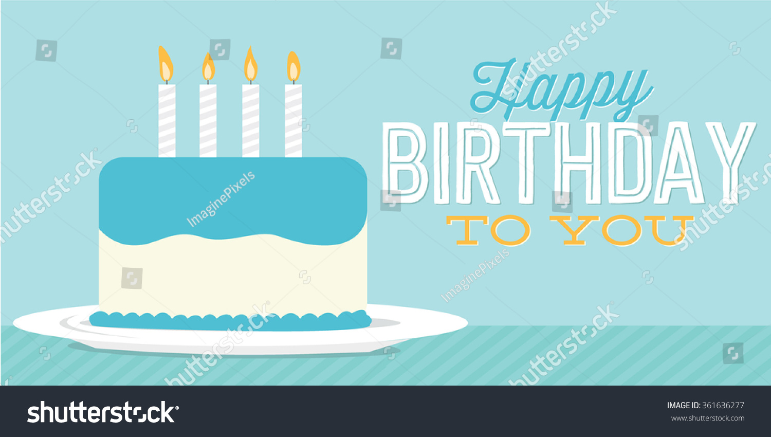 Happy Birthday To You Cake Banner Vector