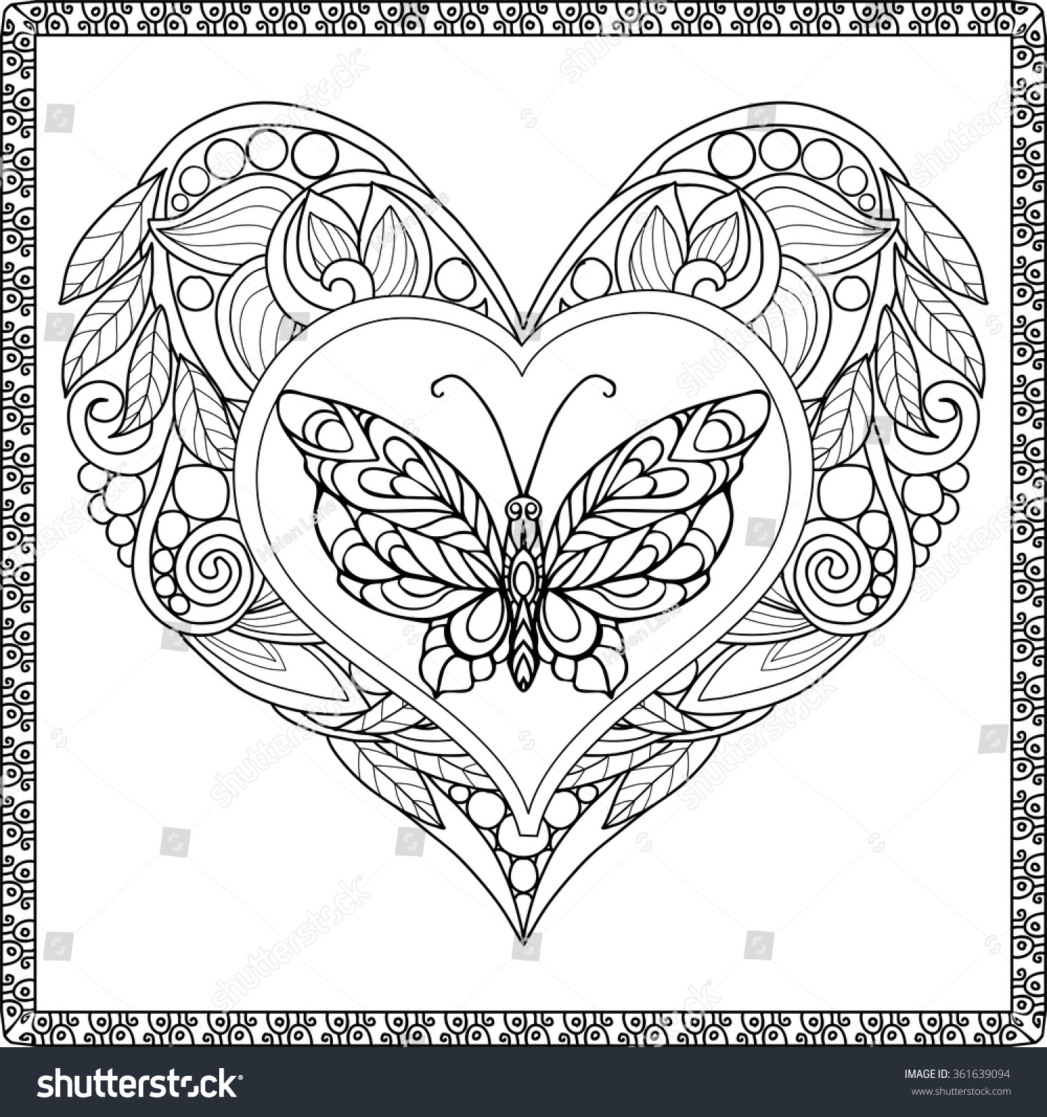 Love Heart Butterfly Coloring Book Adult Stock Vector