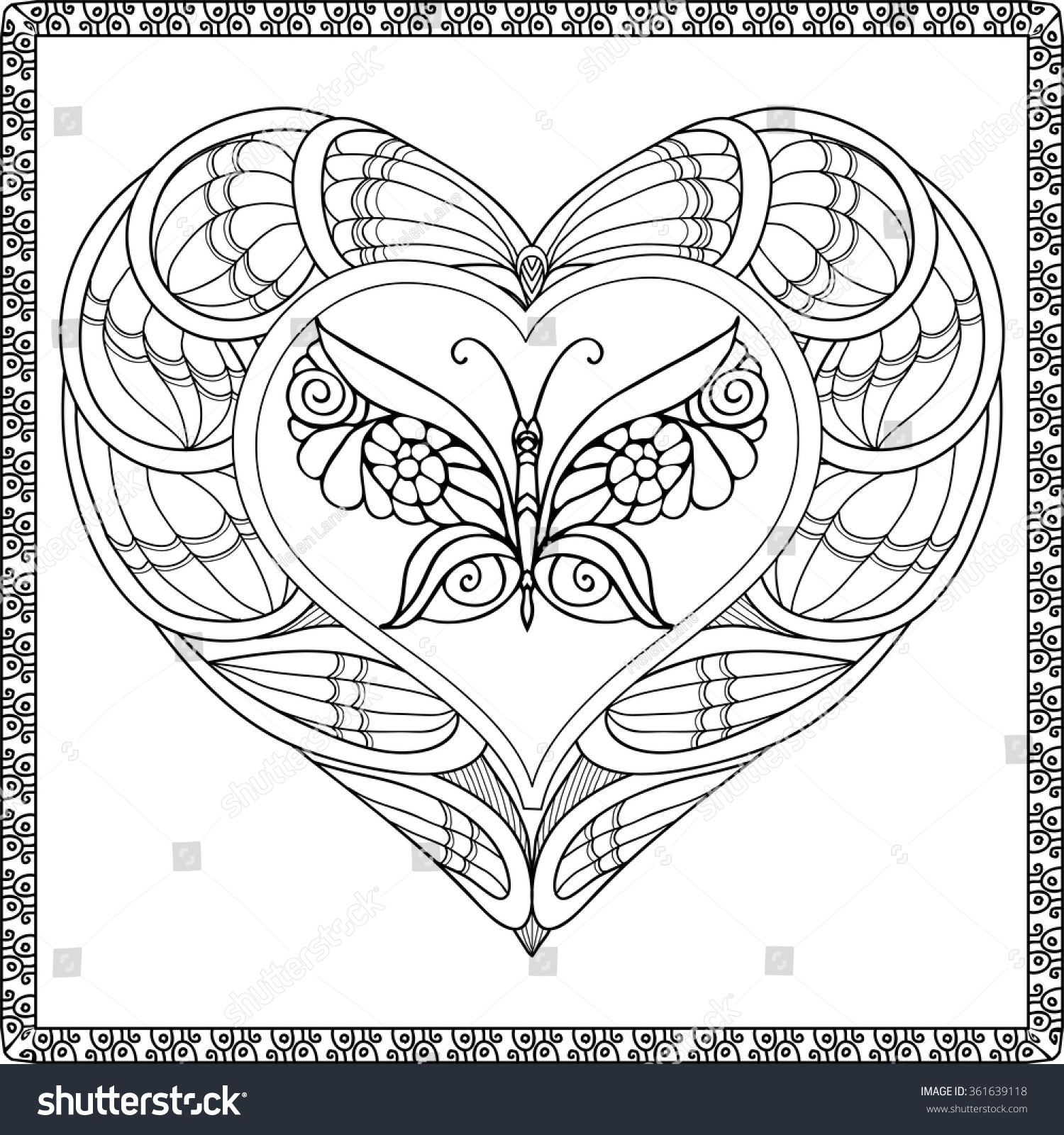 Butterfly coloring page symmetry - Love Heart With Butterfly Coloring Book For Adult And Older Children Coloring Page