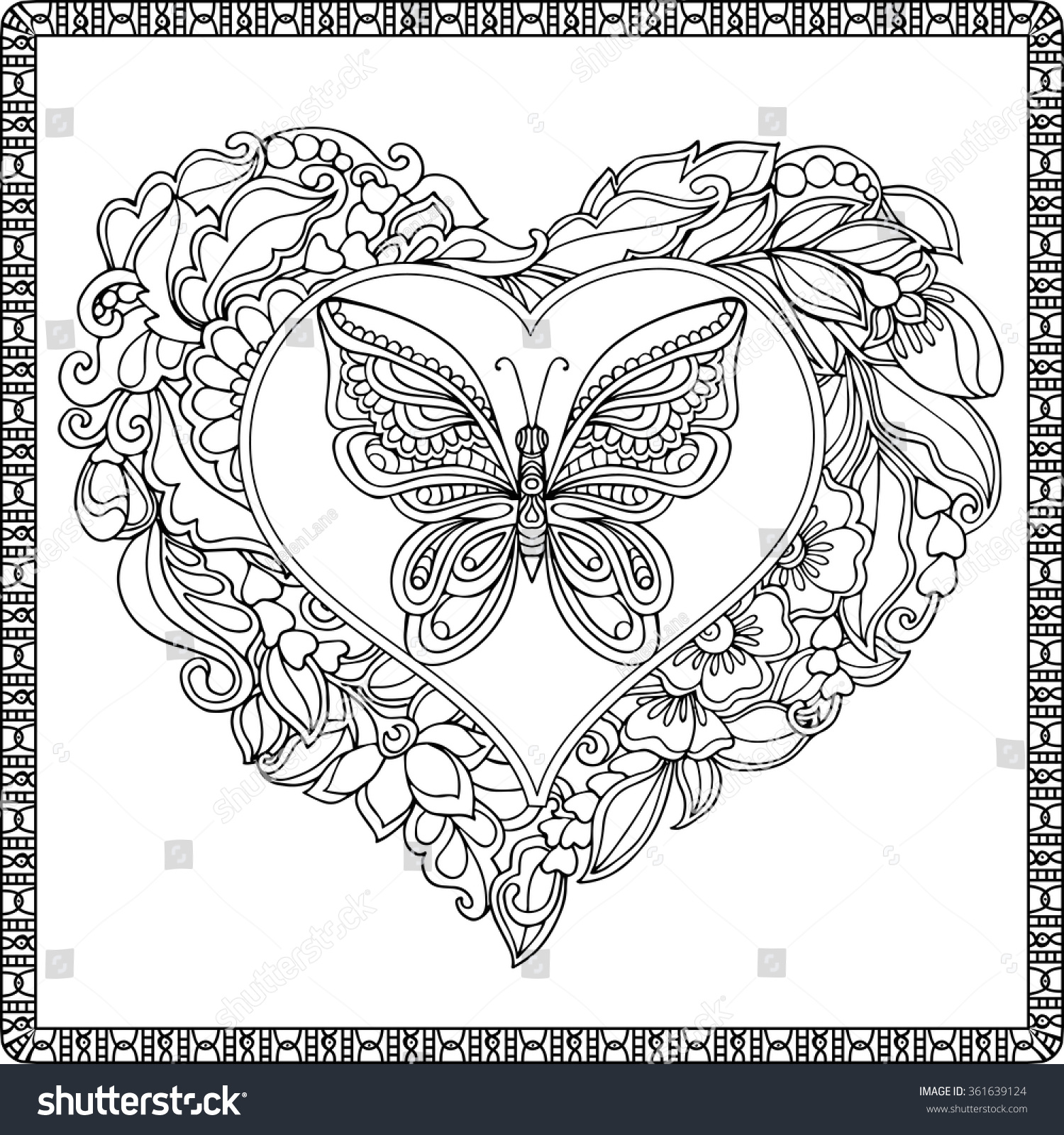 love heart butterfly coloring book stock vector 361639124