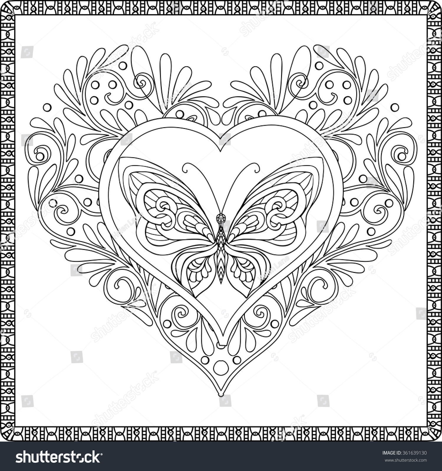Love Heart with... Love Poem Coloring Pages For Adults