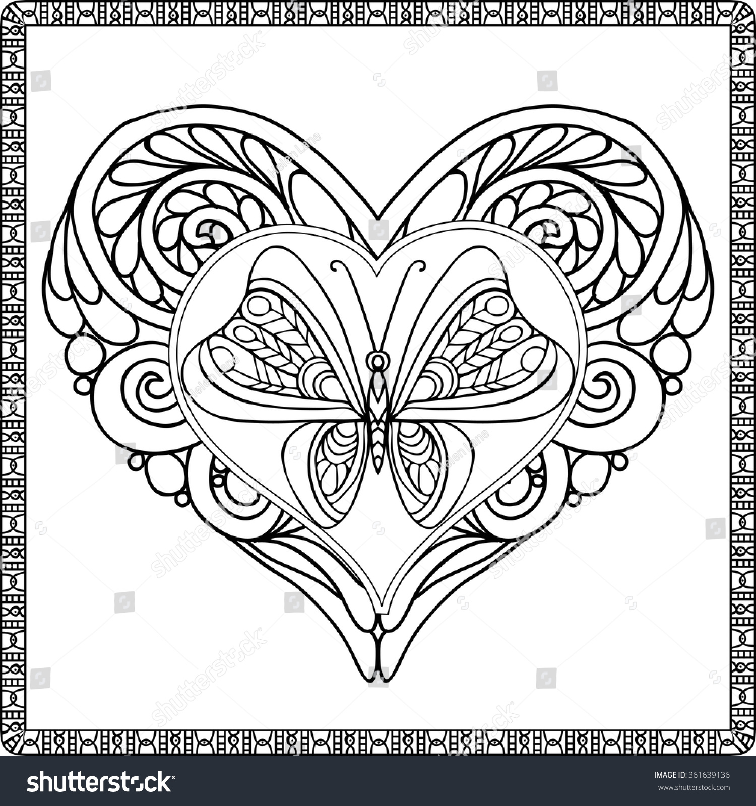 Love Heart Butterfly Coloring Book Adult Stock Vector 361639136